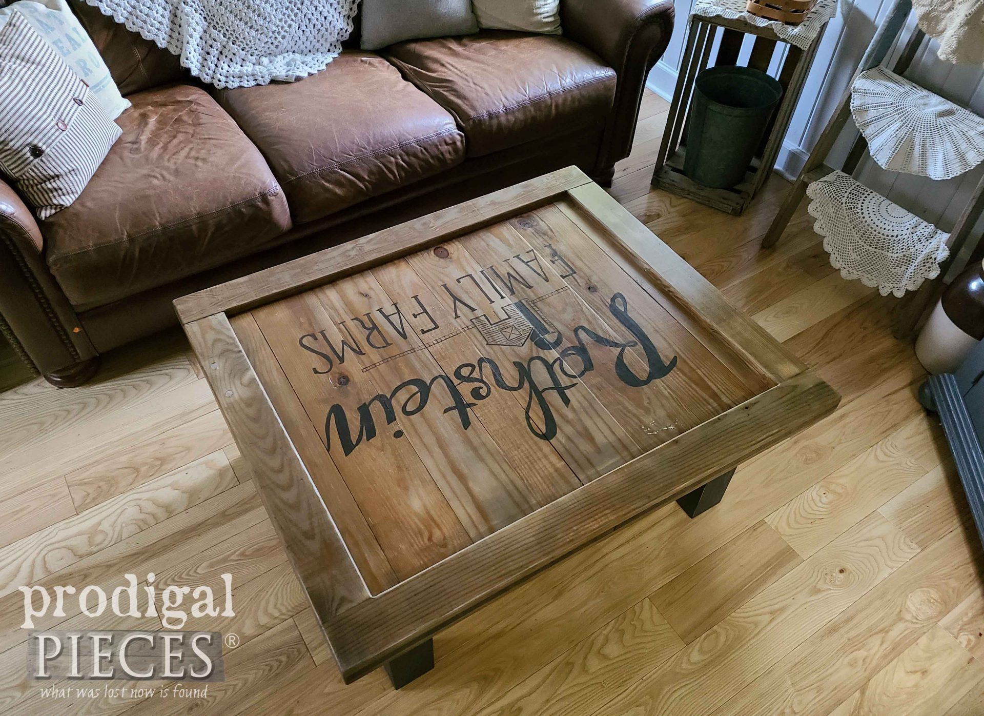 Rustic Farmhouse Coffee Table with Typography by Larissa of Prodigal Pieces   prodigalpieces.com #prodigalpieces #furniture #farmhouse #home #homedecor