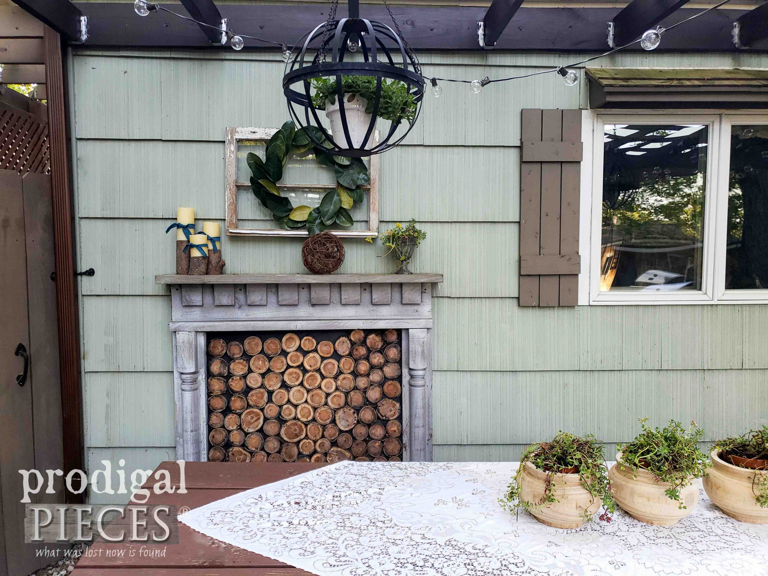 Rustic Farmhouse Patio with Faux Fireplace on Patio by Prodigal Pieces | prodigalpieces.com #prodigalpieces #patio #dining #home #homedecor #farmhouse