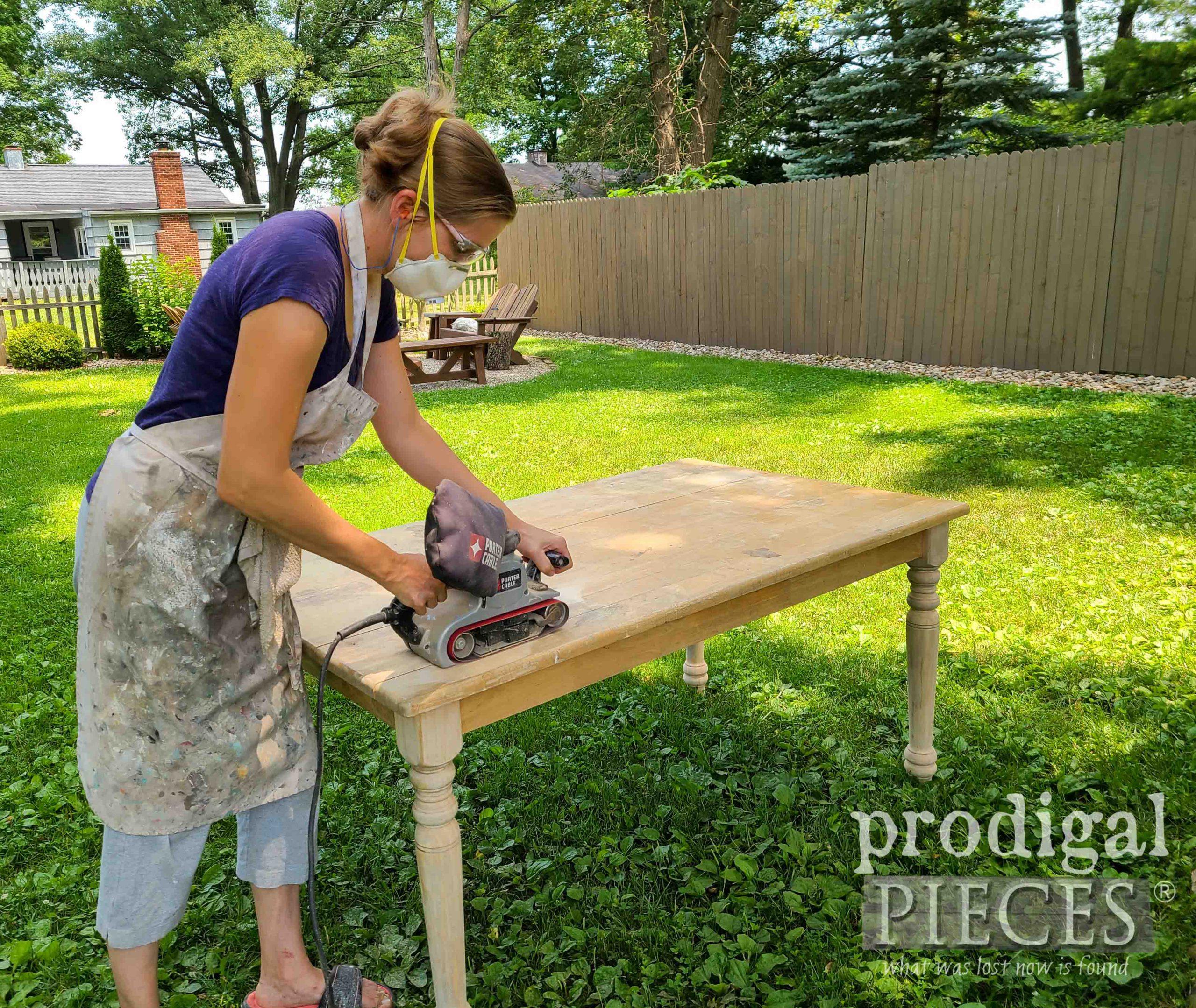 Sanding Farmhouse Dining Table with Belt Sander | prodigalpieces.com
