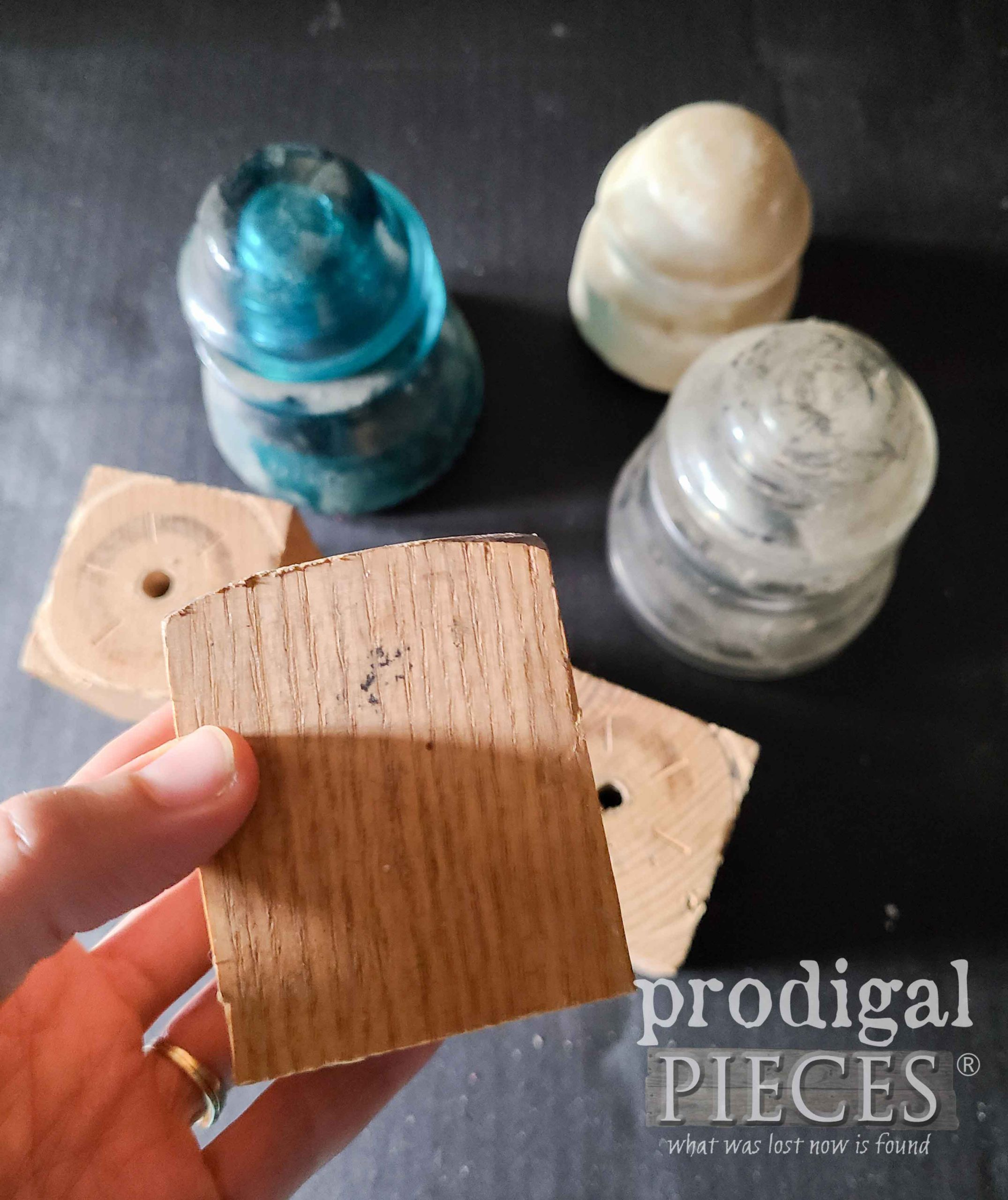 Scrap Wood Salvaged for Upcycled Antique Insulator Candle Holders | prodigalpieces.com