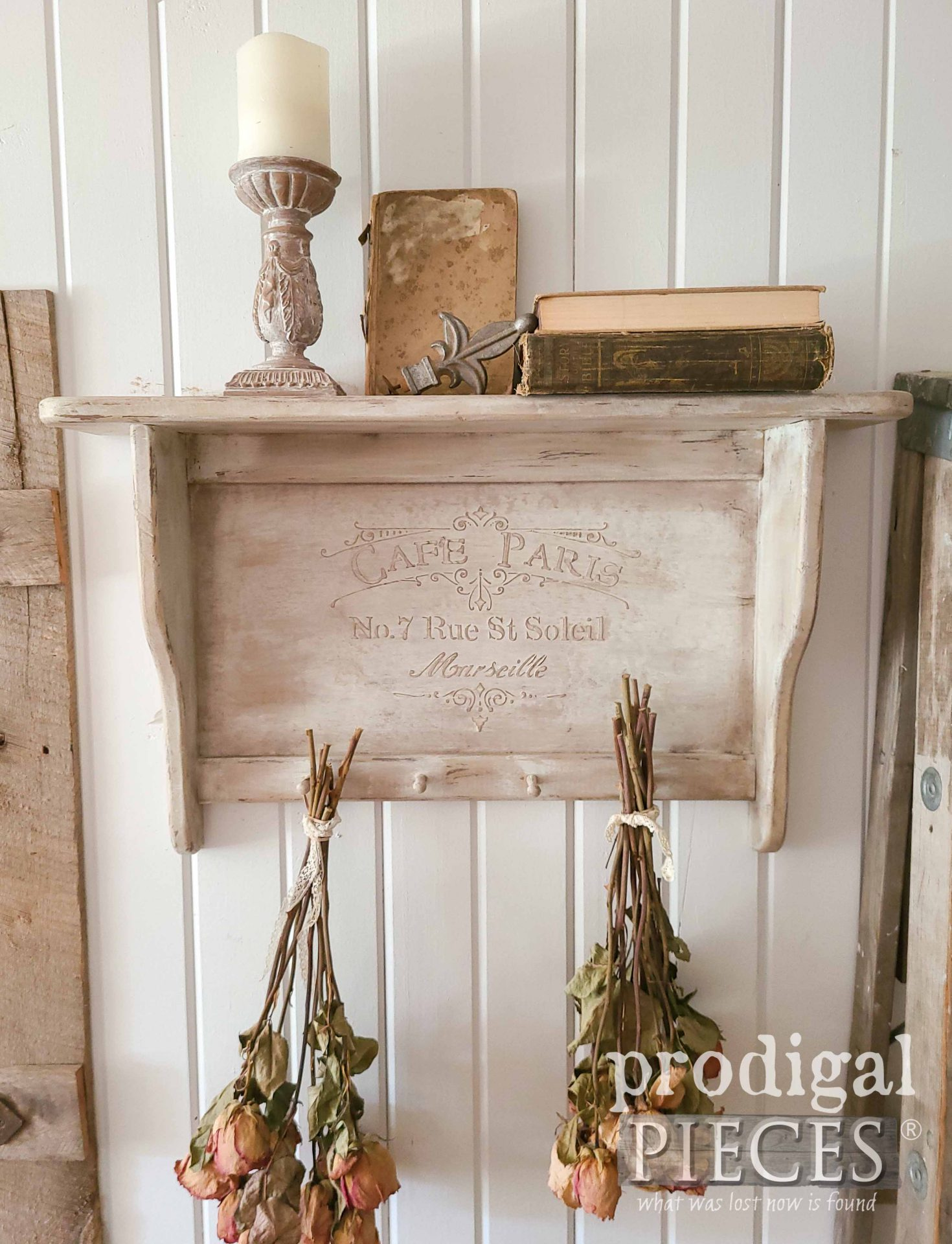 Shabby Chic Vintage Shelf with DIY Embossing by Larissa of Prodigal Pieces | prodigalpieces.com #prodigalpieces #diy #vintage #home #homedecor