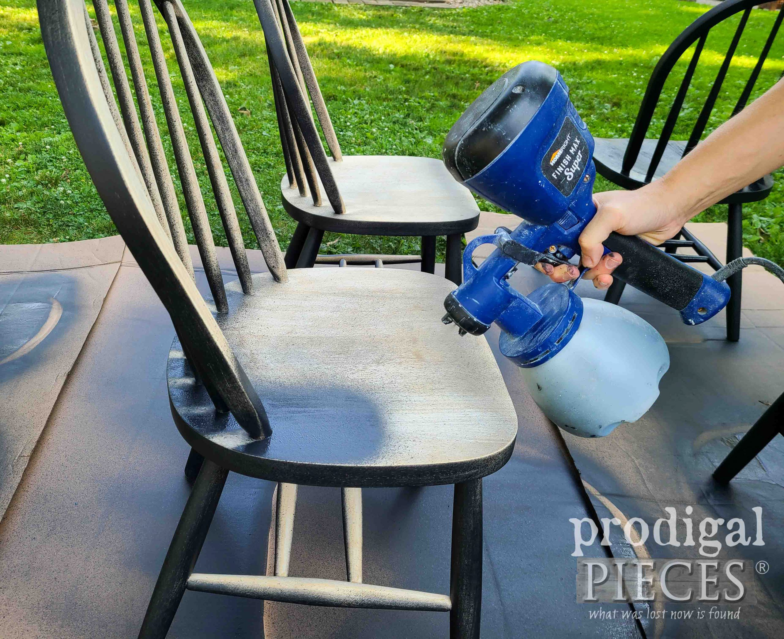Best Way to Paint Chairs with HomeRight Super Finish Max Extra Sprayer | prodigalpieces.com #prodigalpieces