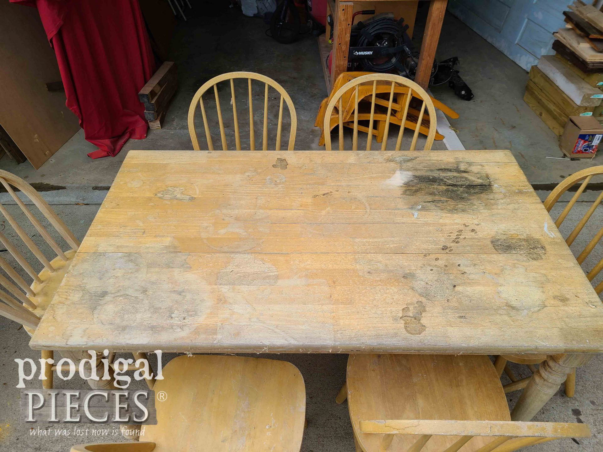 Damaged & Stained Farmhouse Dining Table | prodigalpieces.com