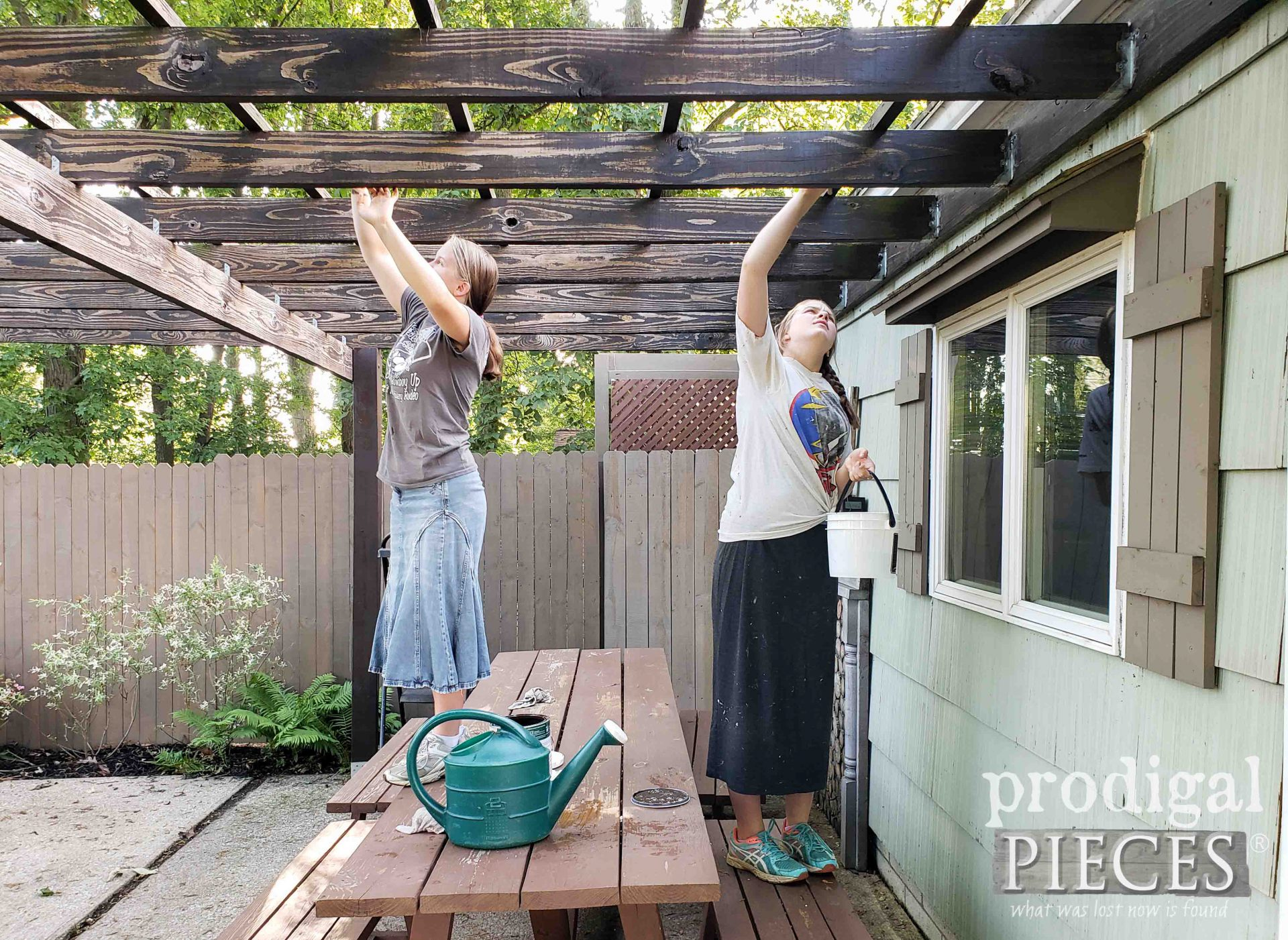 Teens Helping Stain DIY Patio & Pergola for Update | Prodigal Pieces | prodigalpieces.com #prodigalpieces