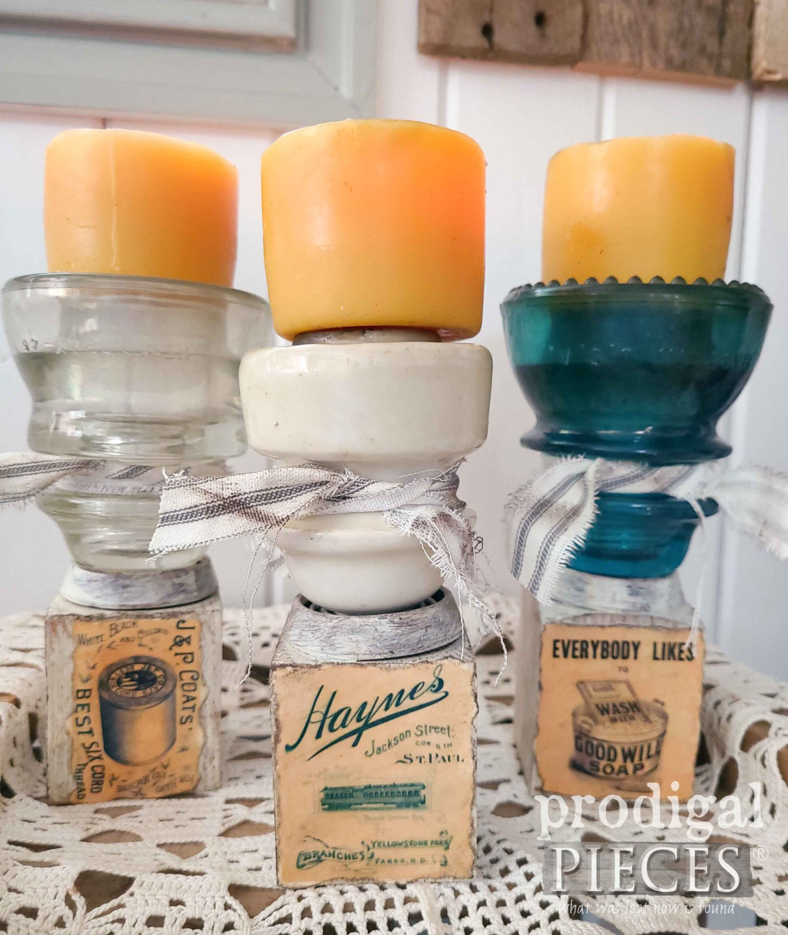 Upcycled Antique Insulator Candle Holders for Farmhouse Decor by Larissa of Prodigal Pieces | prodigalpieces.com #prodigalpieces #farmhouse #home #upcycled #homedecor