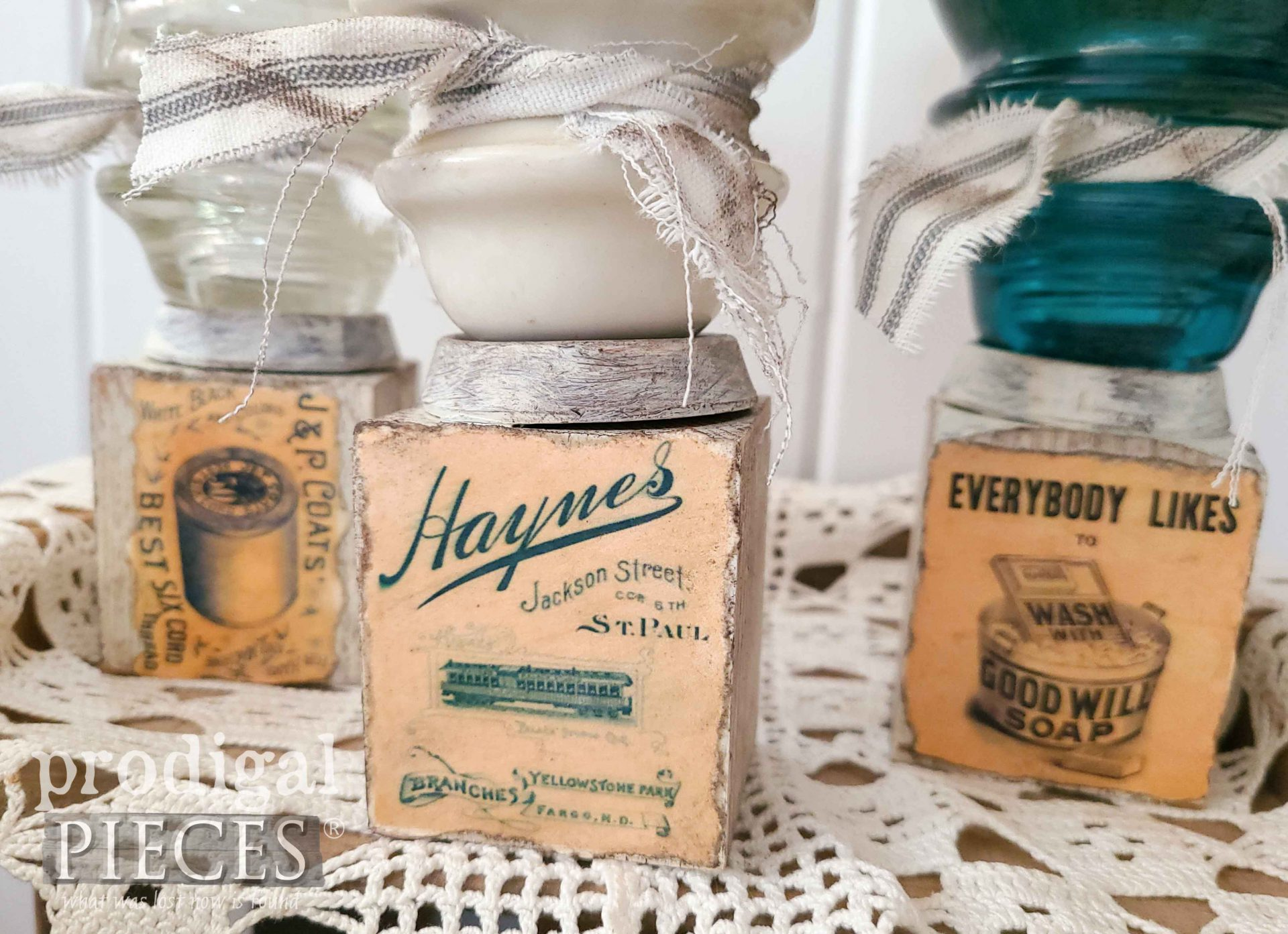 Vintage Advertisement Labels on Upcycled Candle Holders by Larissa of Prodigal Pieces | prodigalpieces.com #prodigalpieces #farmhouse #homedecor #diy