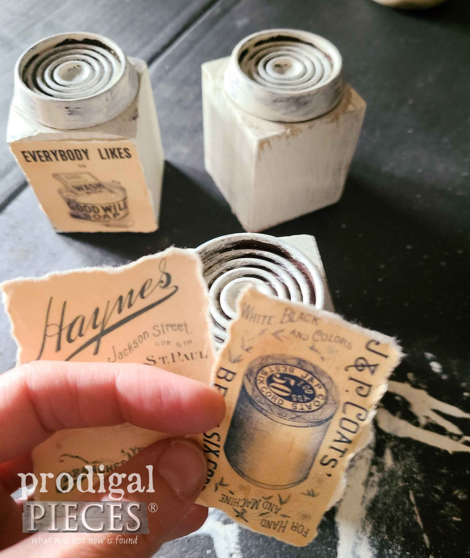 Vintage Labels for Upcycled Antique Insulator Candle Holders | prodigalpieces.com #prodigalpieces