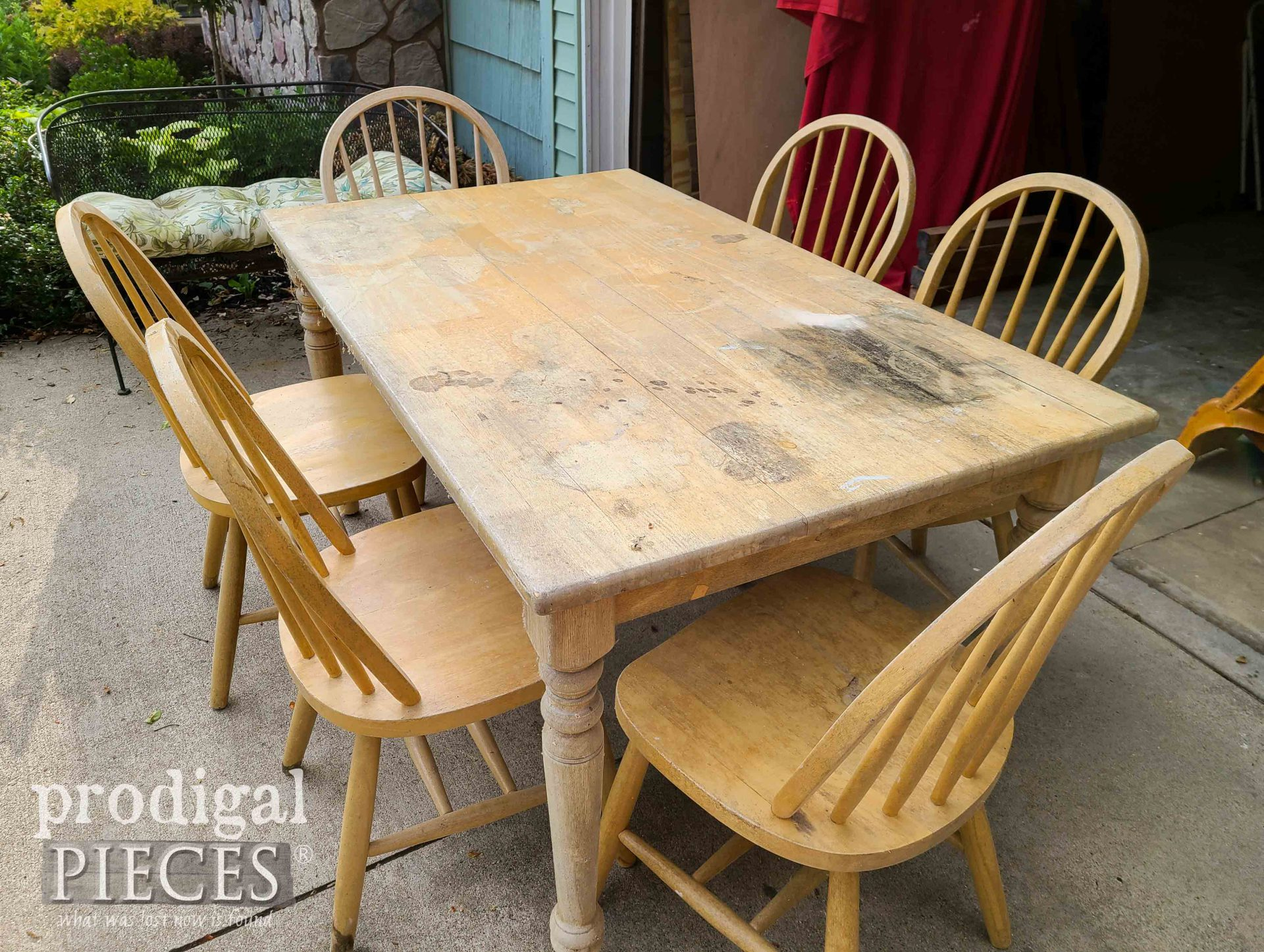 Weathered Farmhouse Dining Table with Stains | prodigalpieces.com