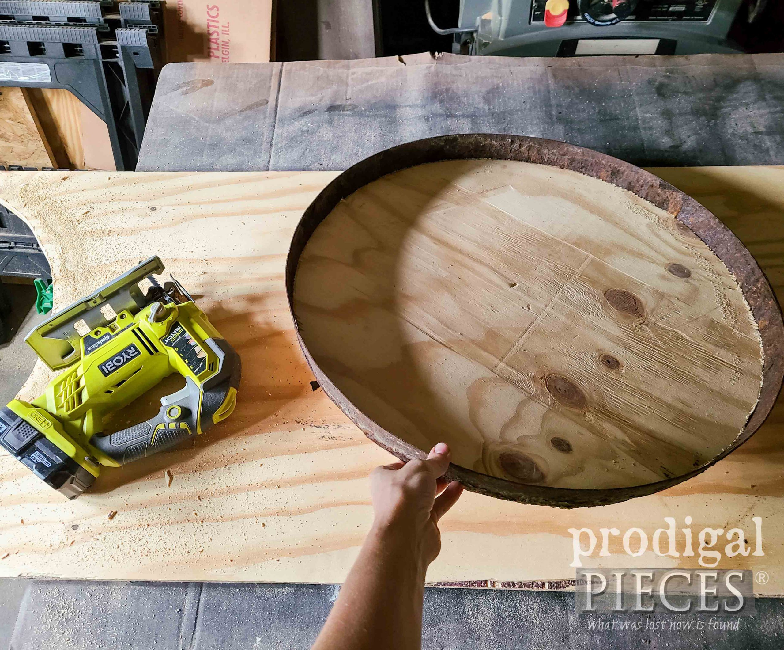 Upcycled Whiskey Barrel Ring with Wood Insert | prodigalpieces.com