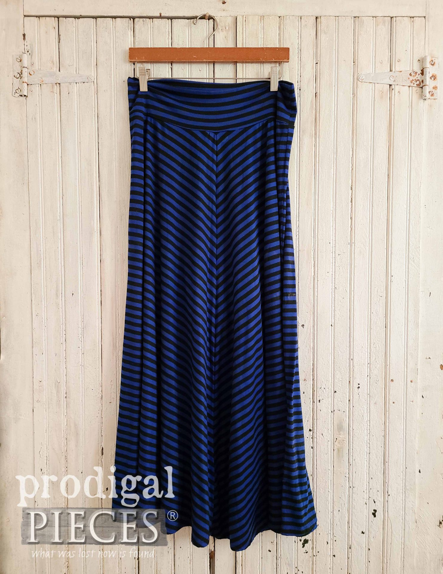 Blue Stripe Knit Skirt Before Refashion by Prodigal Pieces | prodigalpieces.com #prodigalpieces