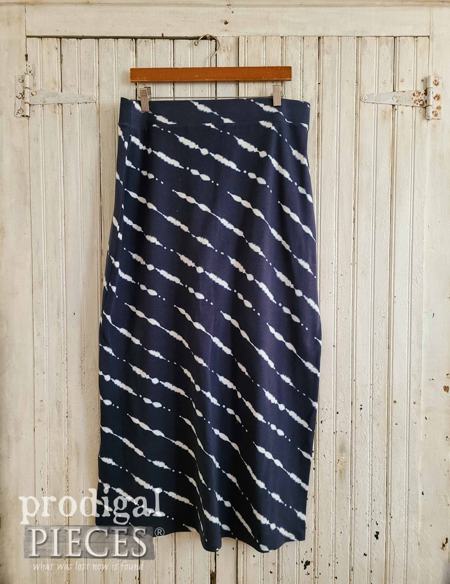 Blue Tie Dye Skirt Before Refashion by Prodigal Pieces | prodigalpieces.com