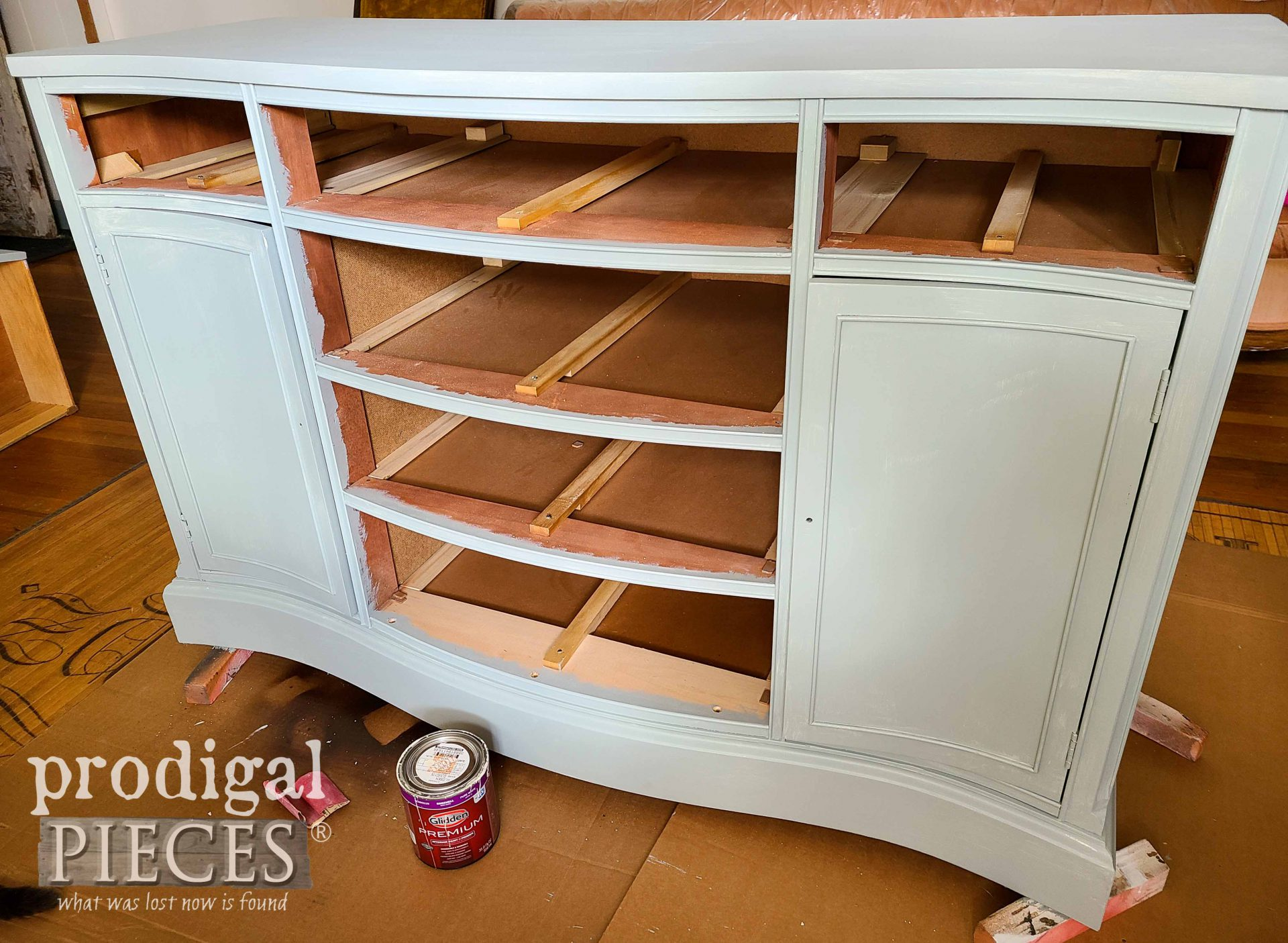 First Coat of Buffet Painted | prodigalpieces.com