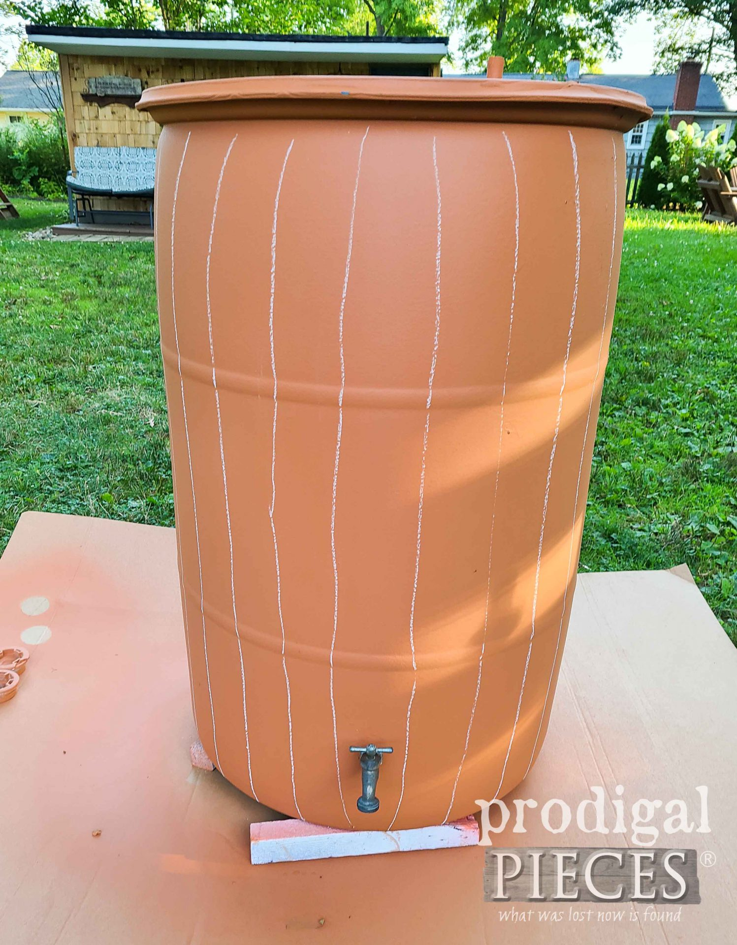 Chalk Lined DIY Rain Barrel for Faux Wood | prodigalpieces.com