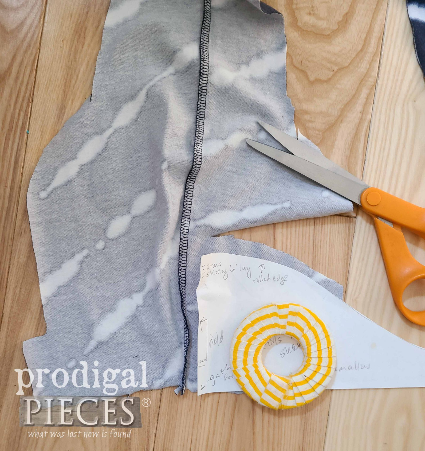 Cutting Nightgown Sleeve out of Remnant Upcycled Skirt | prodigalpieces.com