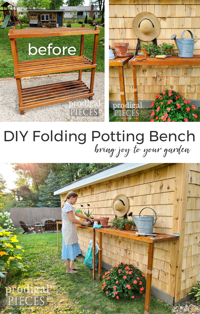 DIY Folding Potting Bench with plans by Larissa of Prodigal Pieces } prodigalpieces.com #prodigalpieces #diy #gardening #homesteading #selfsufficient