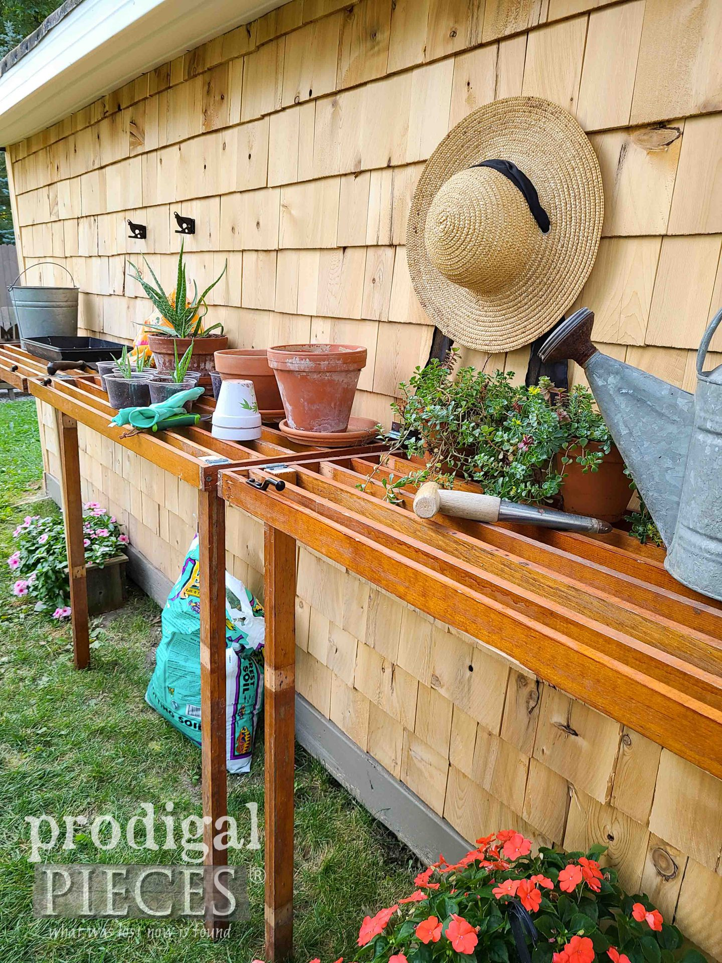 DIY Garden Potting Bench from Reclaimed Shelving by Larissa of Prodigal Pieces | prodigalpieces.com #prodigalpieces #homesteading #diy #garden #selfsustaining