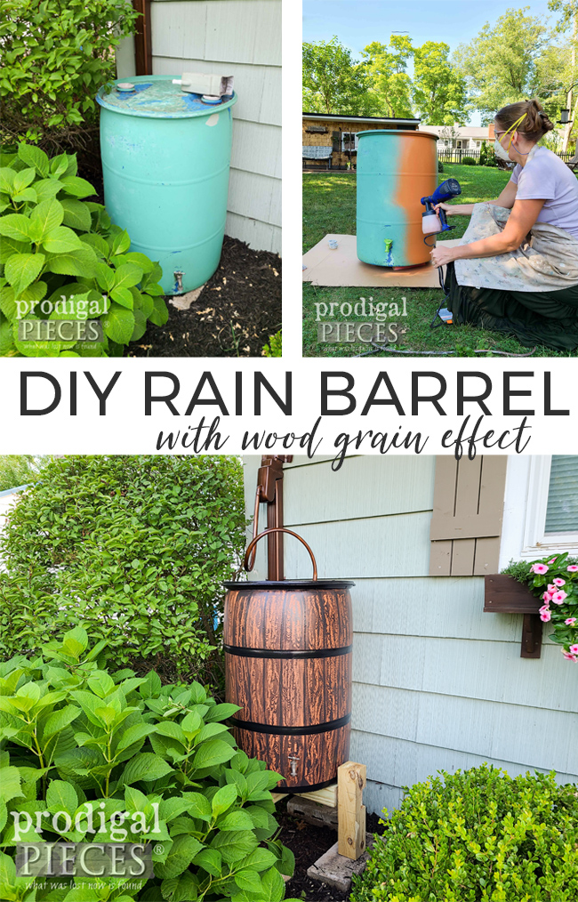 A food grade drum can become a functional and decorative asset to your garden as a DIY rain barrel by Prodigal Pieces | prodigalpieces.com #prodigalpieces #diy #garden #selfsufficient #home