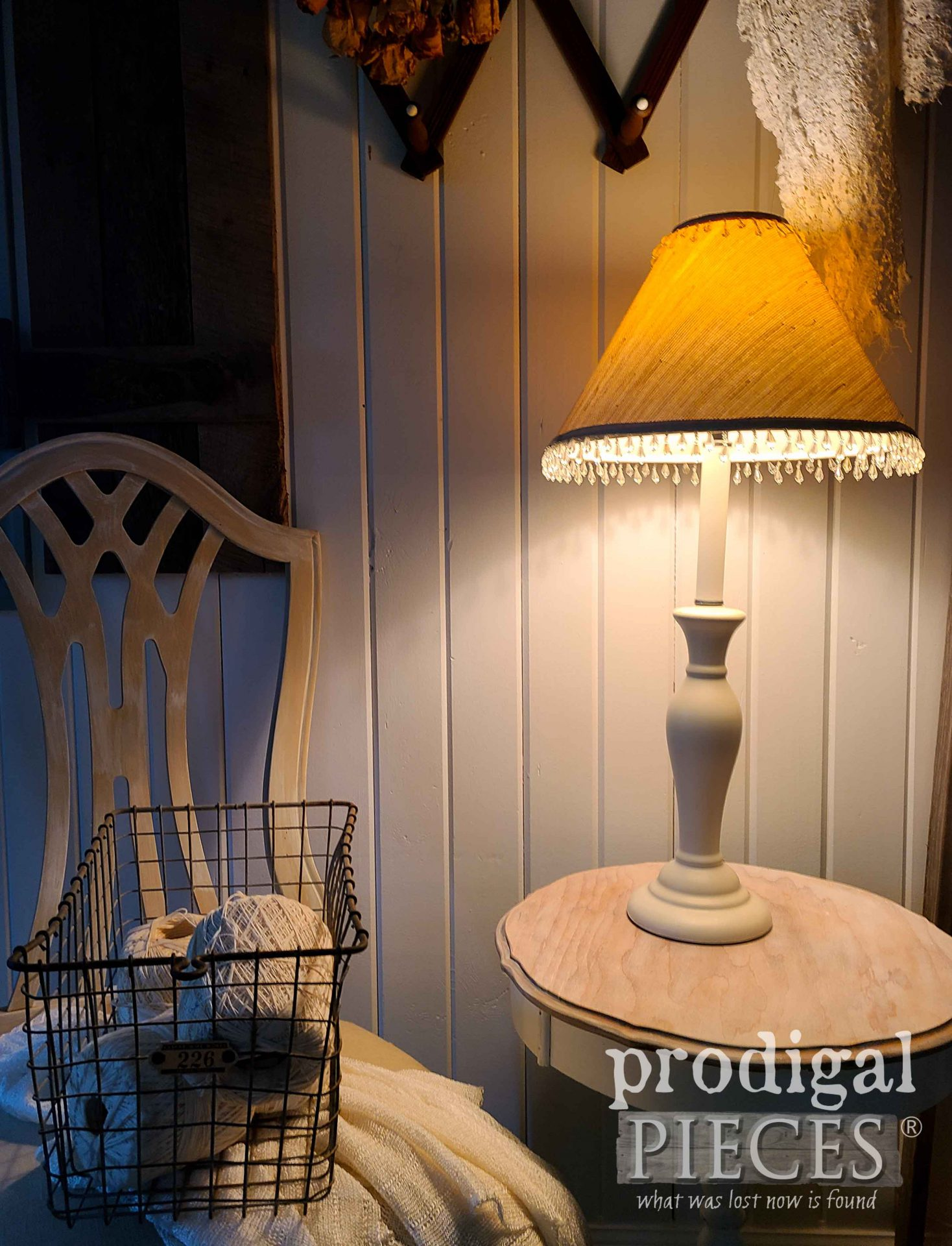 Farmhouse Chic Lamp found Curbside & Repaired by Larissa of Prodigal Pieces | prodigalpieces.com #prodigalpieces #lamp #home #farmhouse #homedecor
