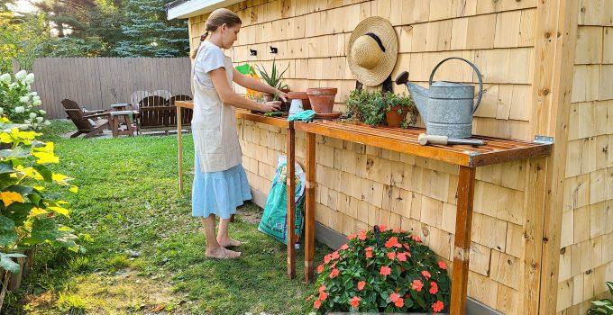DIY Folding Potting Bench on Garden Shed