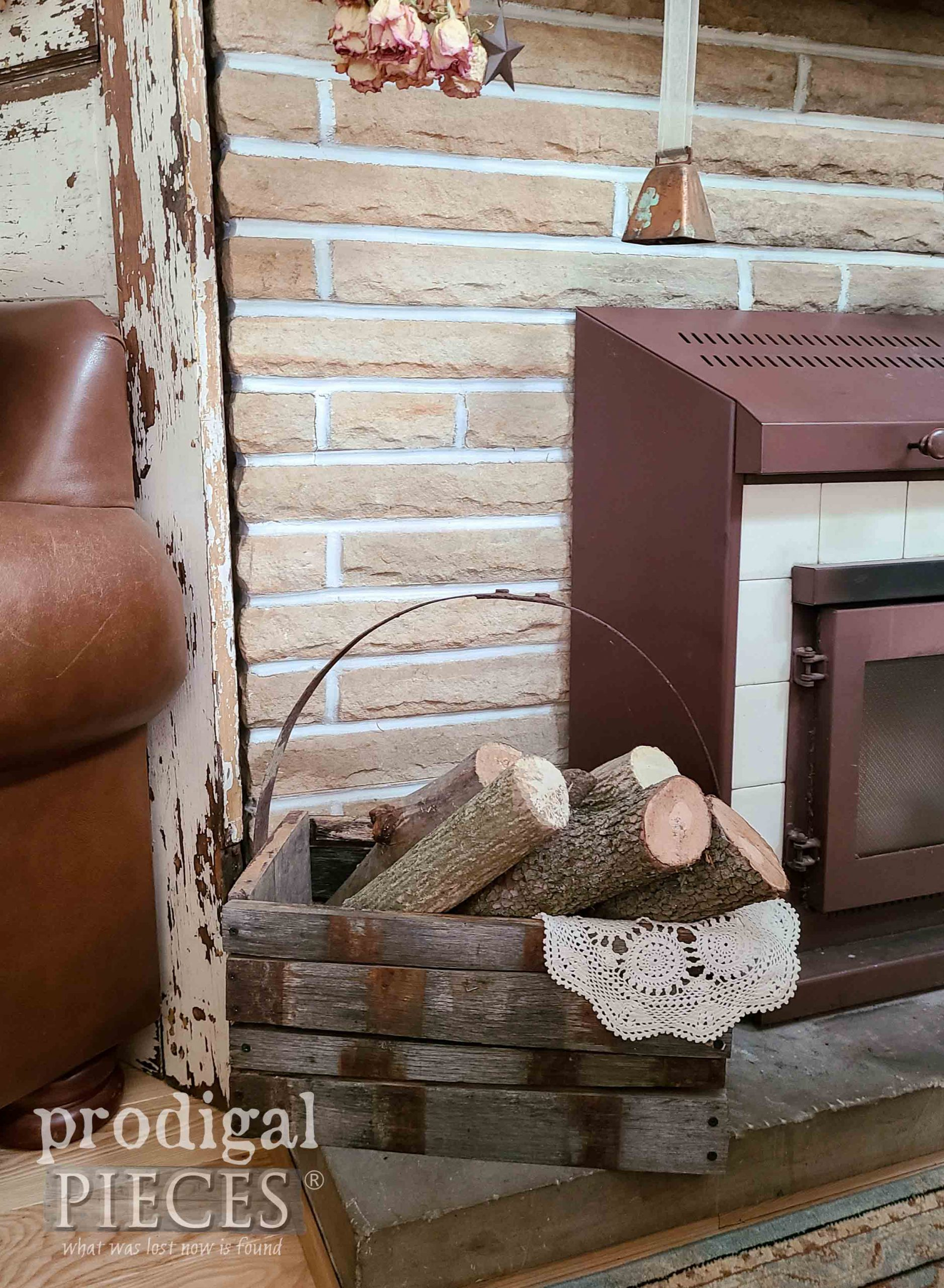 Fireplace Wood Tote made from Upcycled Whiskey Barrel Planter by Larissa of Prodigal Pieces   prodigalpieces.com #prodigalpieces #farmhouse #home #livingroom #homedecor