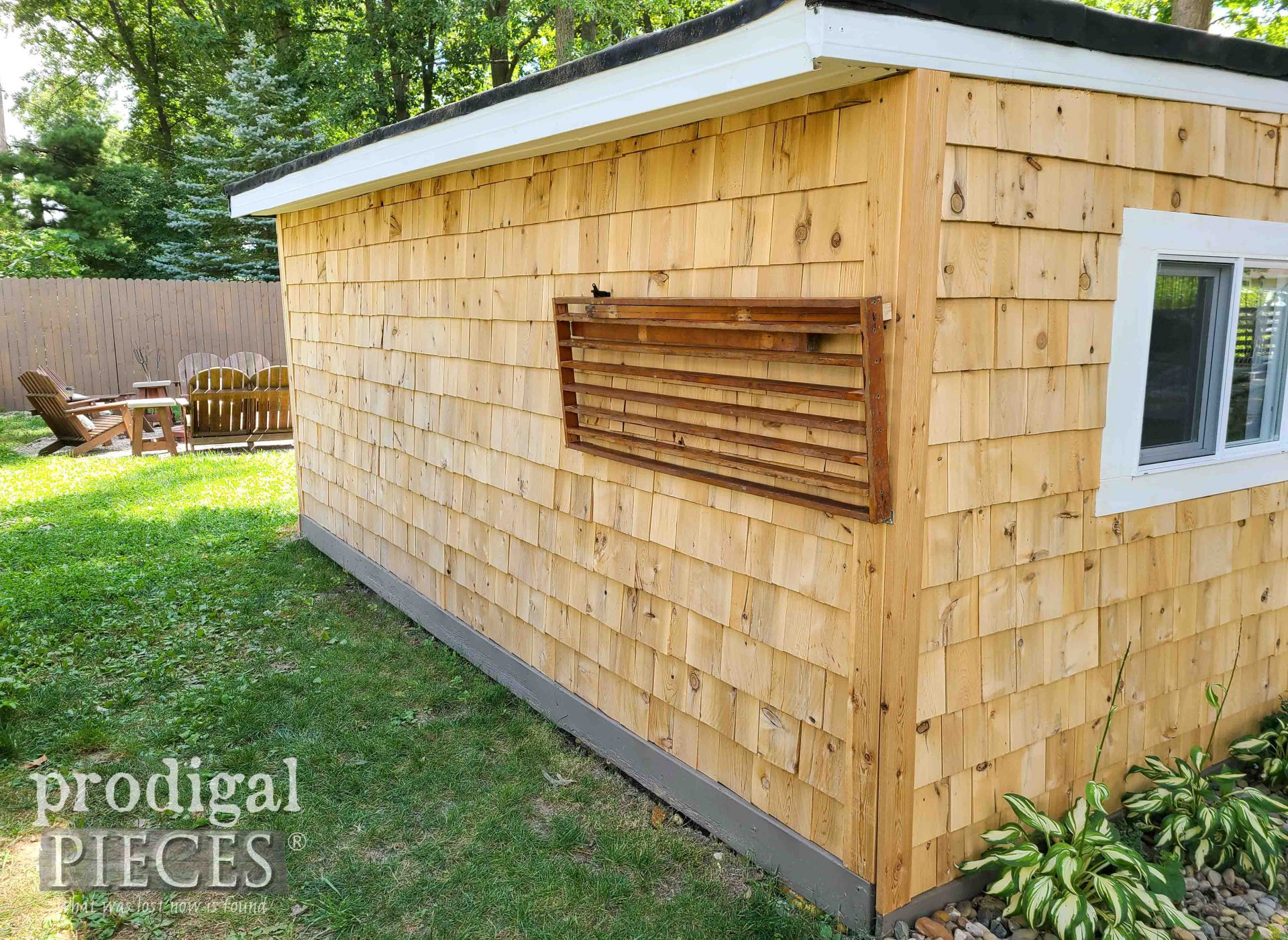First DIY Folding Potting Bench attached to Garden Shed | prodigalpieces.com