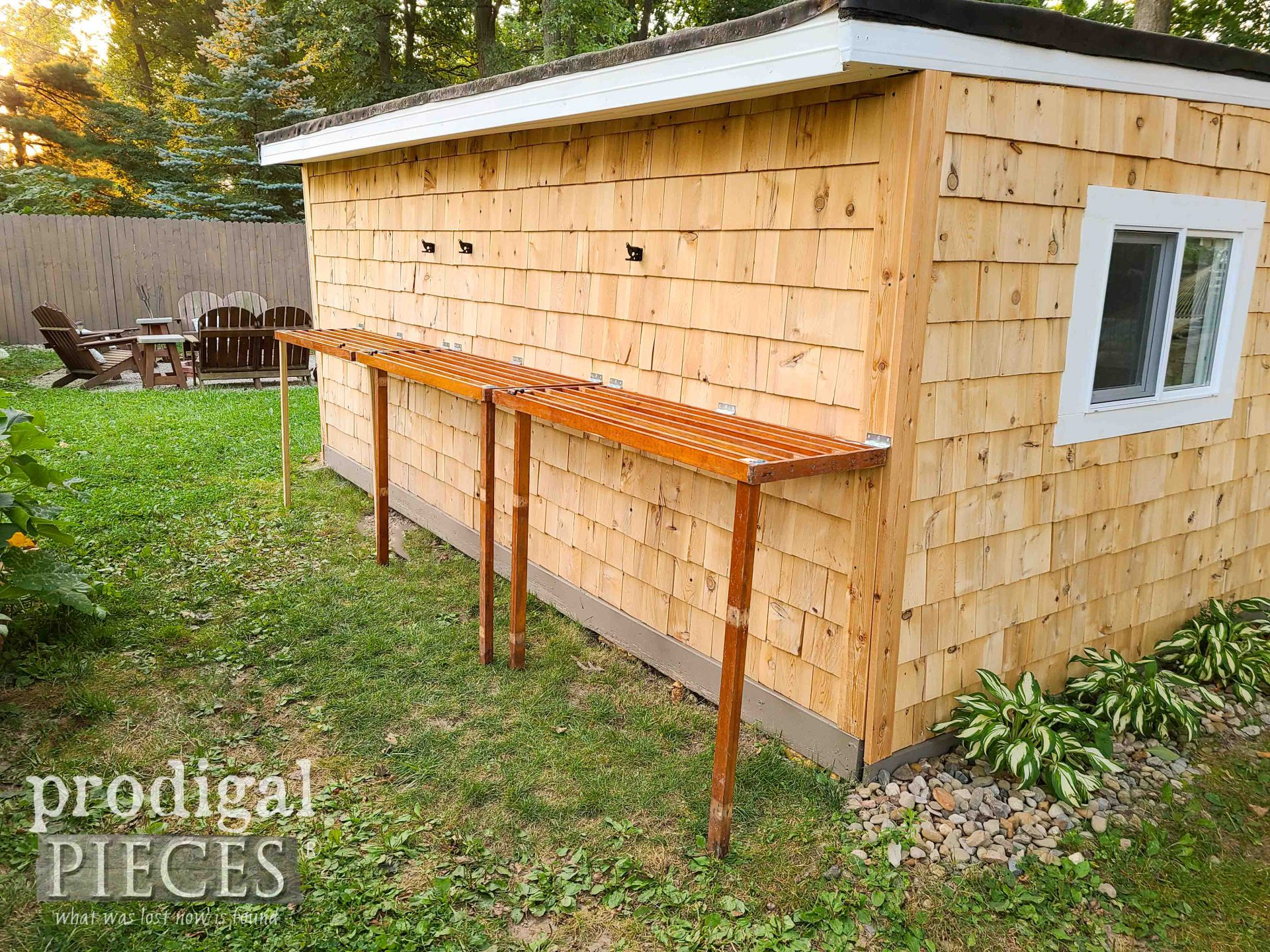 DIY Folding Potting Benches on Shed by Prodigal Pieces | prodigalpieces.com #prodigalpieces #diy #home #garden #homesteading