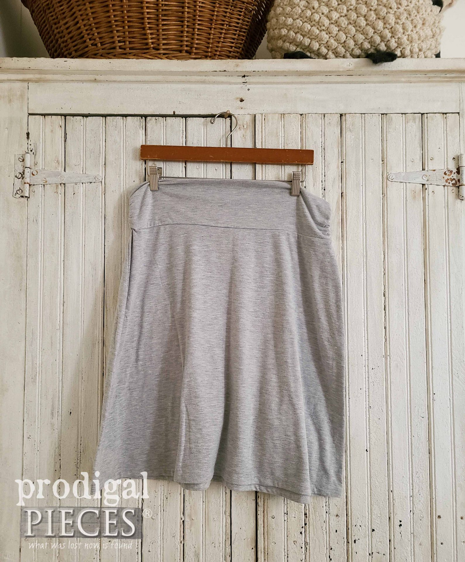 Gray Knit Skirt Before Refashion by Prodigal Pieces | prodigalpieces.com