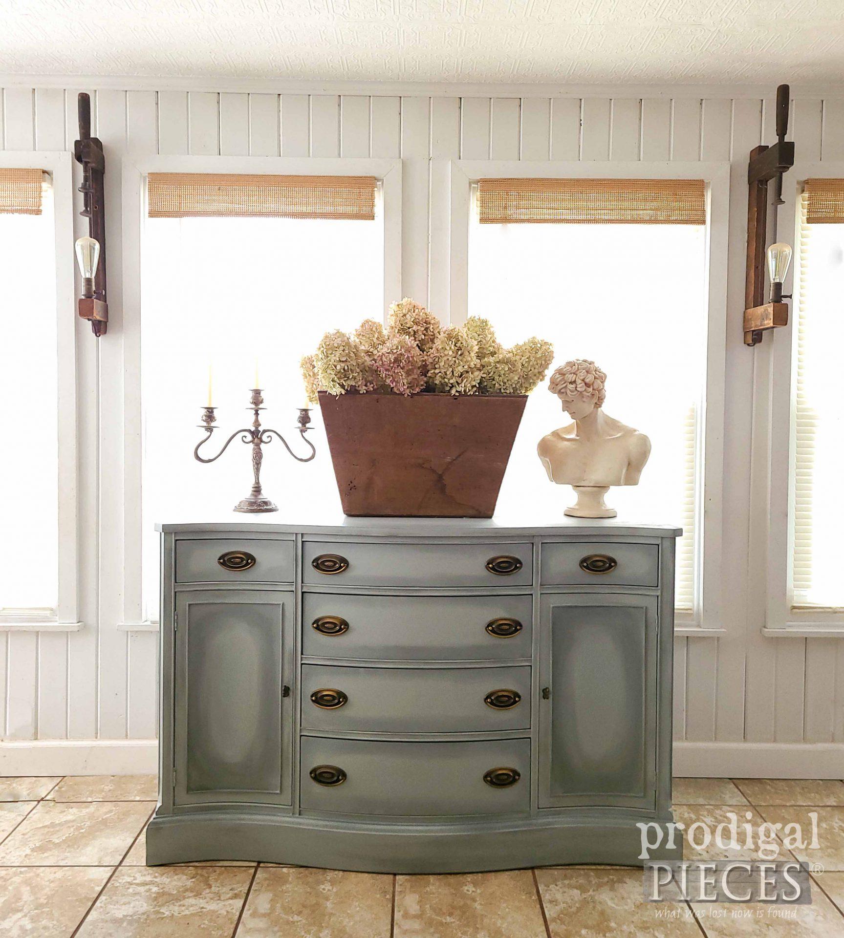 Green Blue Bassett Buffet Makeover by Larissa of Prodigal Pieces | prodigalpieces.com #prodigalpieces #furniture #vintage #diy #home #homedecor