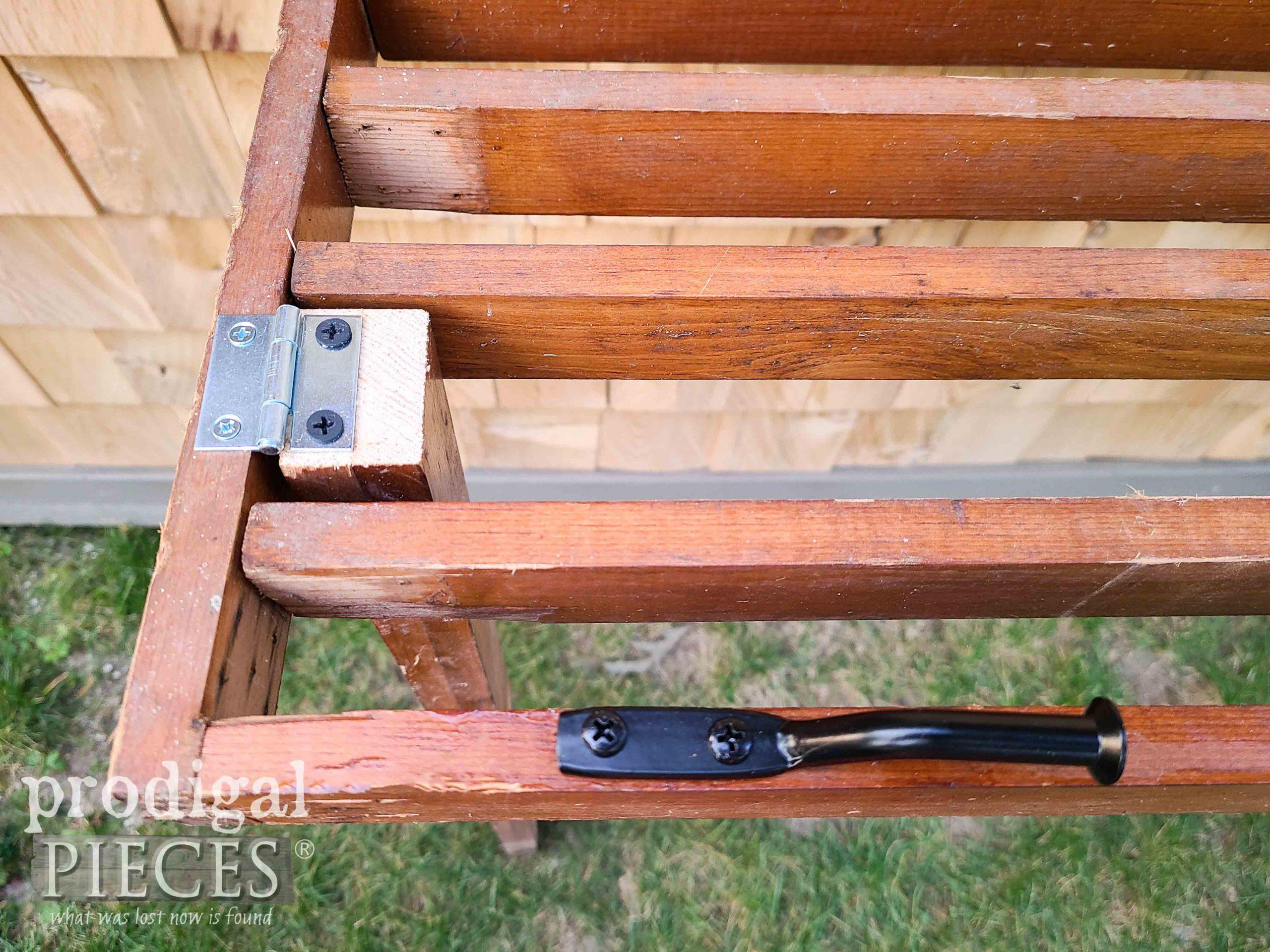 Hardware on DIY Folding Potting Bench by Prodigal Pieces   prodigalpieces.com #prodigalpieces