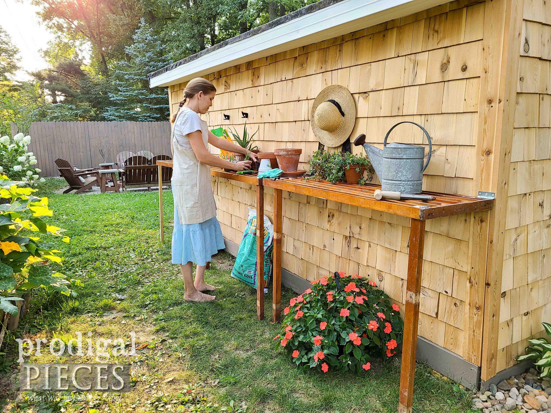 Larissa of Prodigal Pieces with her DIY Folding Potting Bench   prodigalpieces.com #prodigalpieces #garden #diy #homesteading #homedecor