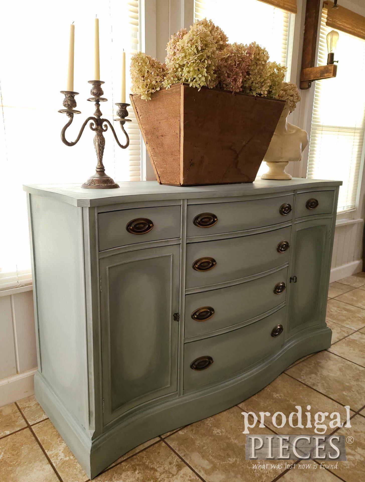 Left Side of Vintage Bassett Buffet by Larissa of Prodigal Pieces | prodigalpieces.com #prodigalpieces #furniture #diy #home #homedecor