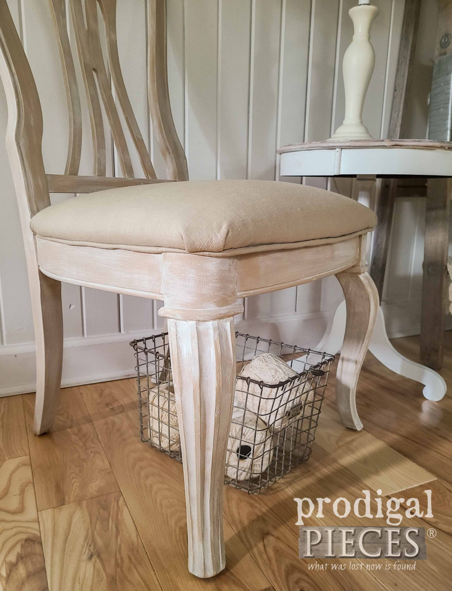 Linen Chair Seat on Upholstered Chair by Prodigal Pieces | prodigalpieces.com #prodigalpieces #diy #furniture #home #homedecor