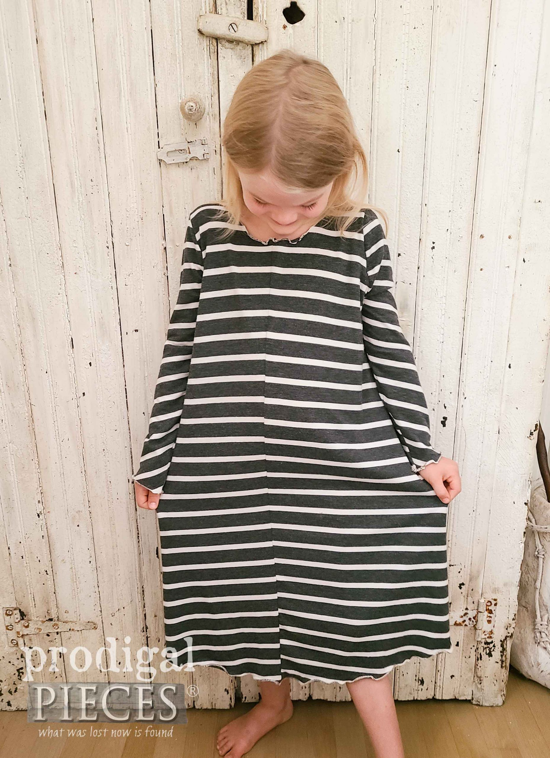 Long Sleeve Nightgown made from Refashioned Skirt by Larissa of Prodigal Pieces | prodigalpieces.com #prodigalpieces #sewing #fashion #handmade #diy