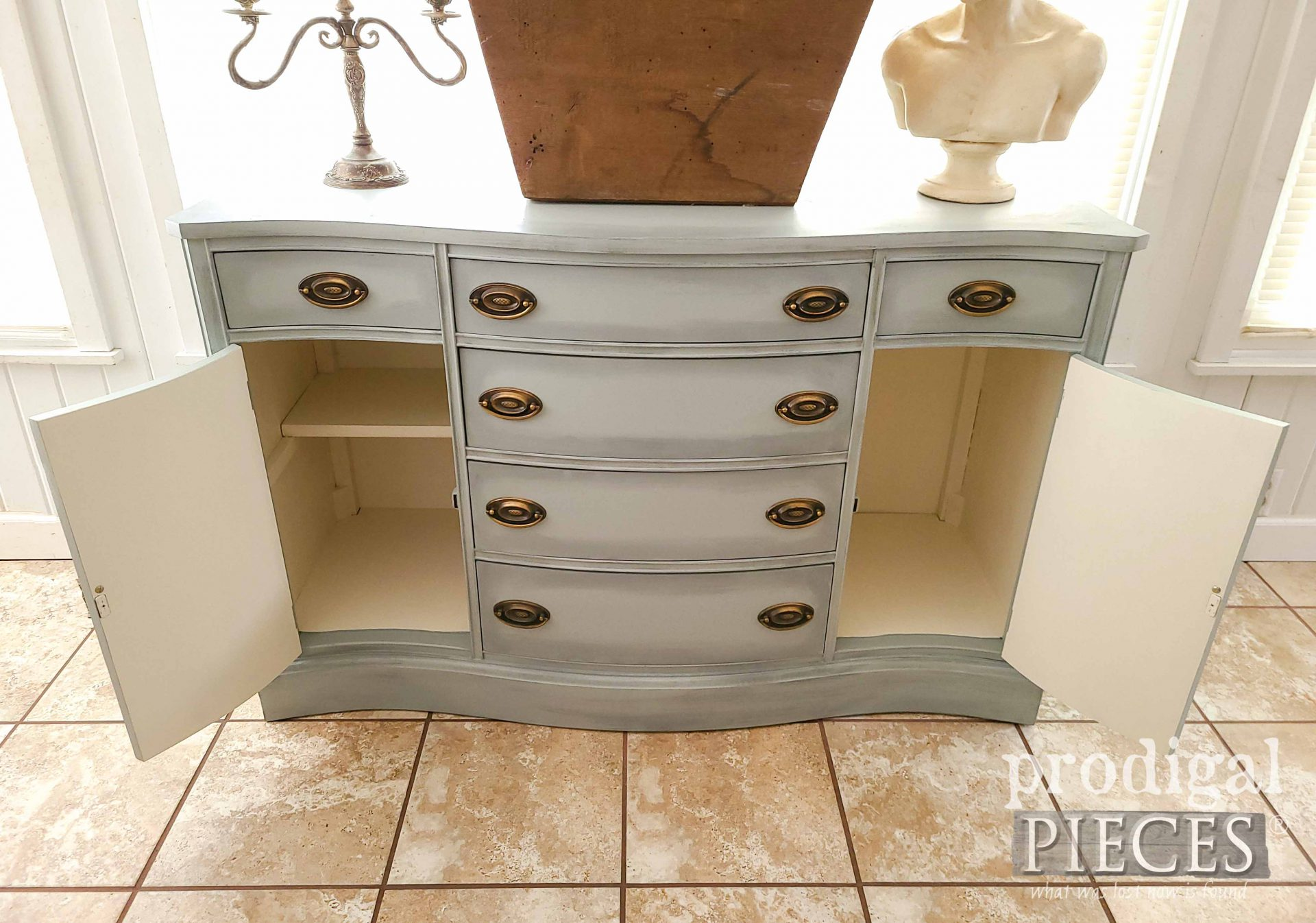 Open Buffet Doors with Contrasting Color by Larissa of Prodigal Pieces | prodigalpieces.com #prodigalpieces #diy #furniture #home #farmhouse #homedecor