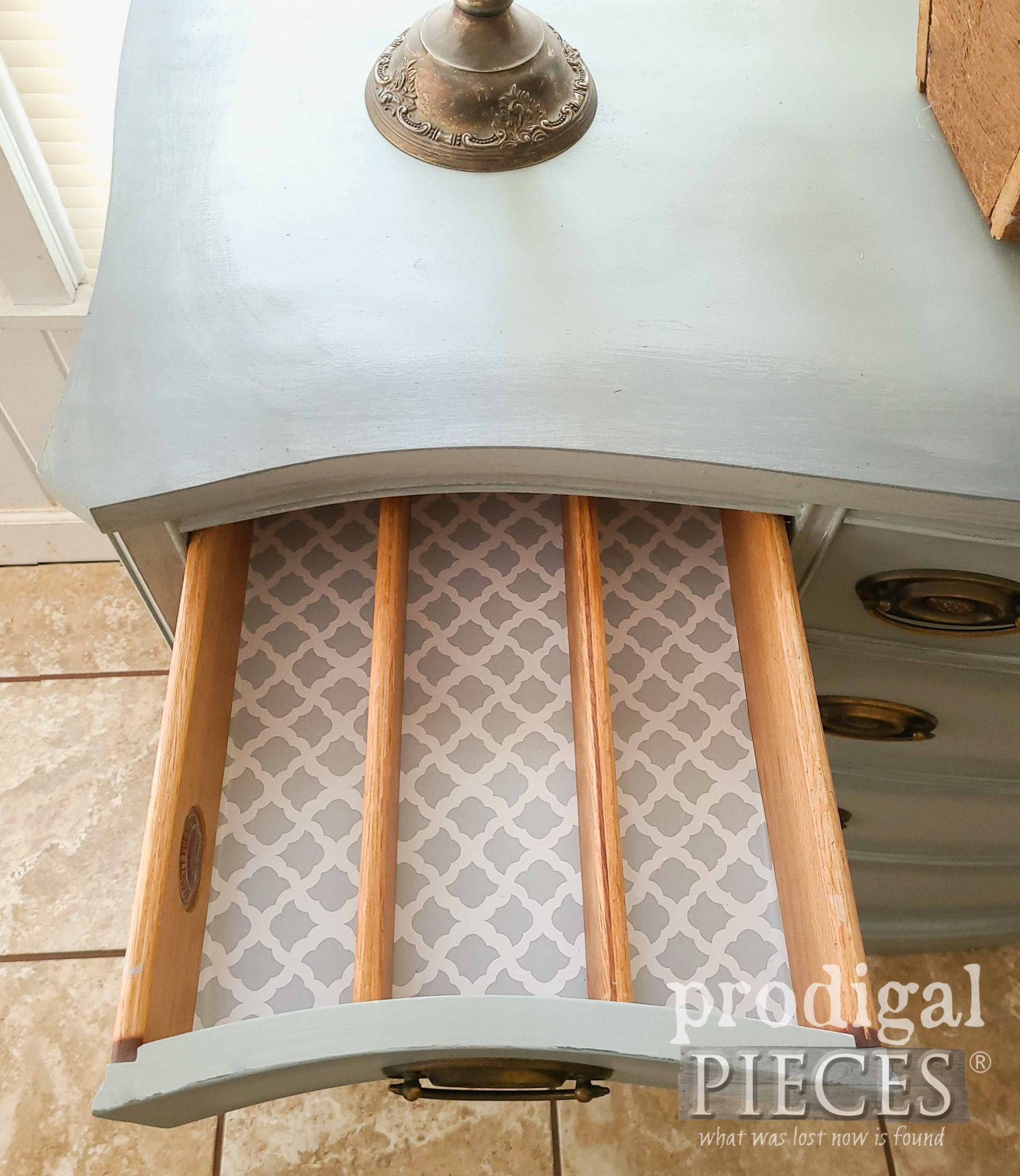 Open Silverware Drawer with Lining by Prodigal Pieces | prodigalpieces.com #prodigalpieces #furniture #home #homedecor #farmhouse