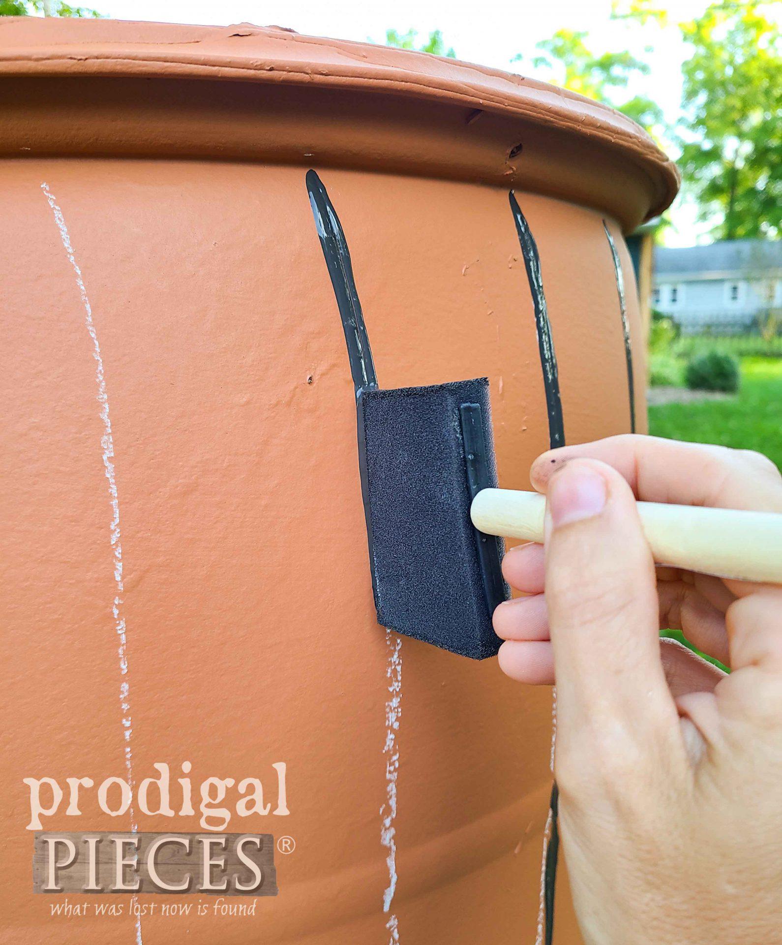 Painting Faux Wood DIY Rain Barrel Lines by Larissa of Prodigal Pieces | prodigalpieces.com
