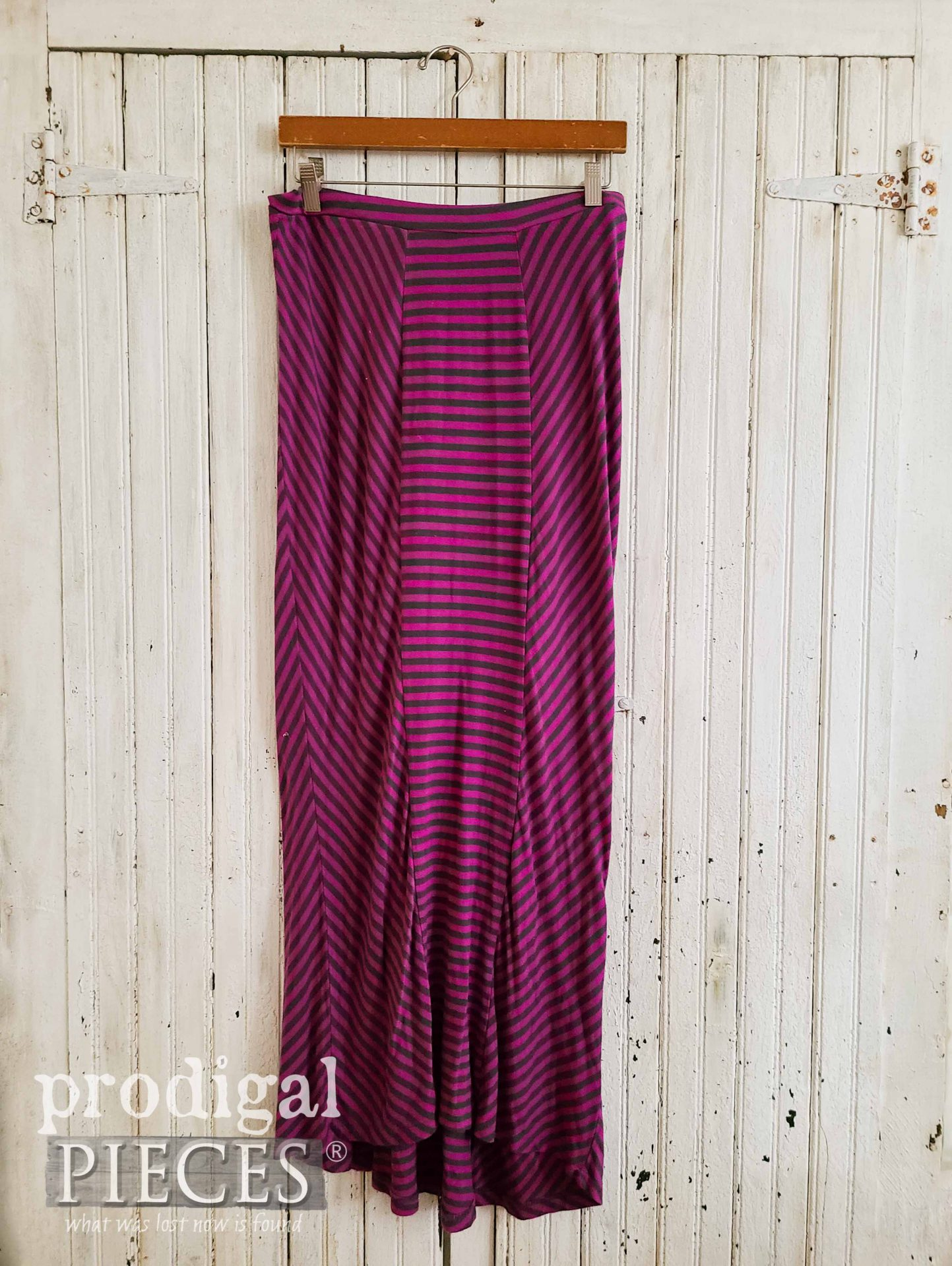 Pink Striped Skirt Before Refashion by Prodigal Pieces | prodigalpieces.com