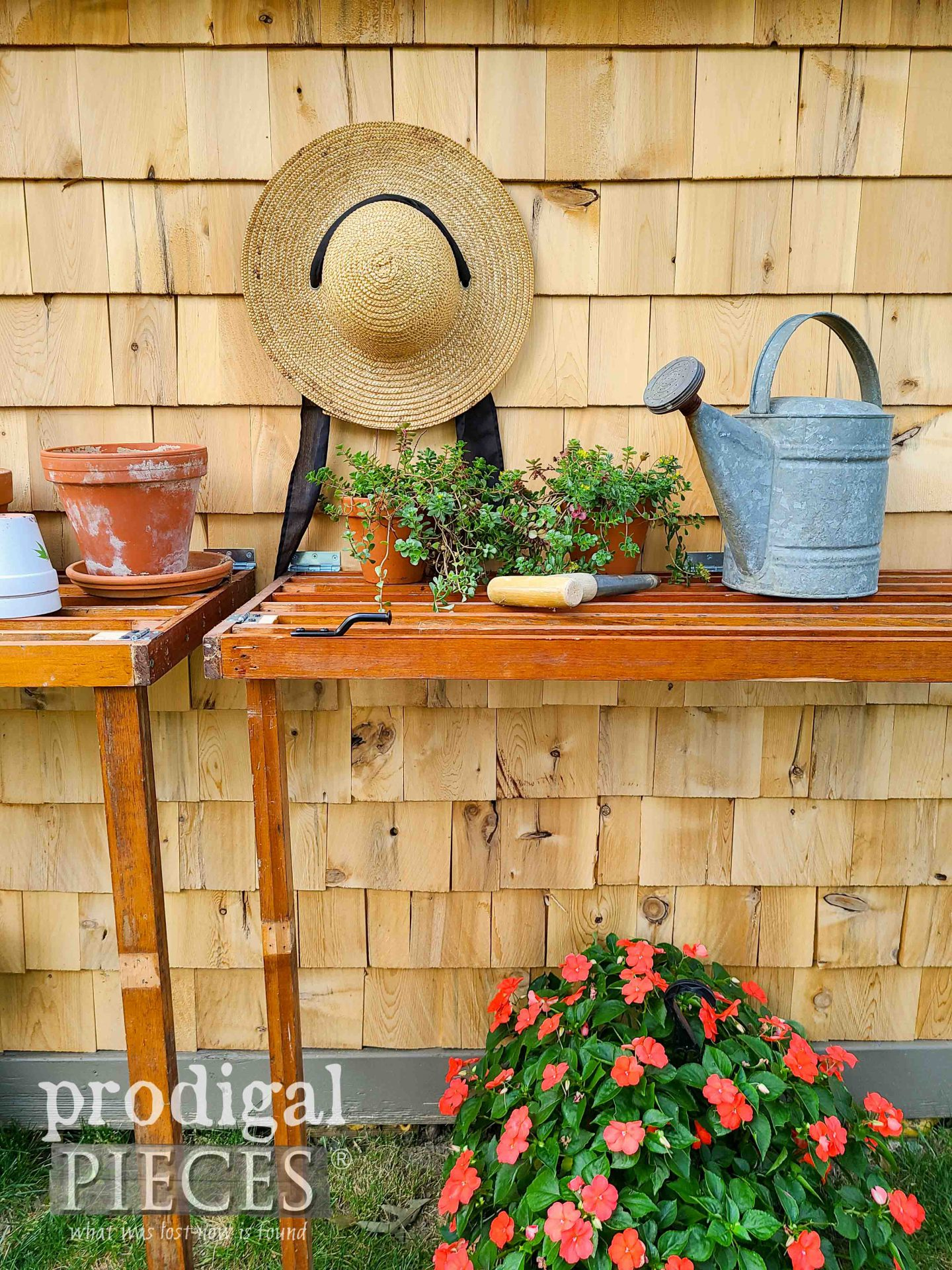 Reclaimed DIY Folding Potting Bench built by Larissa of Prodigal Pieces | prodigalpieces.com #prodigalpieces #diy #home #garden #homesteading