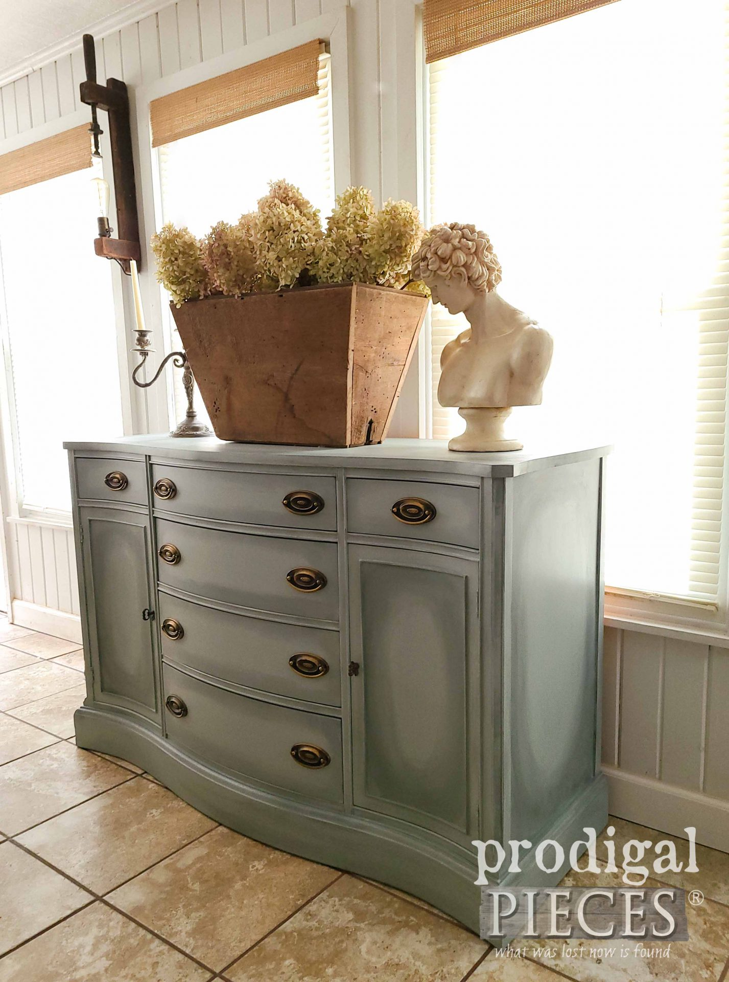 Right Side of Vintage Bassett Buffet Restored by Larissa of Prodigal Pieces | prodigalpieces.com #prodigalpieces #diy #home #homedecor #furniture