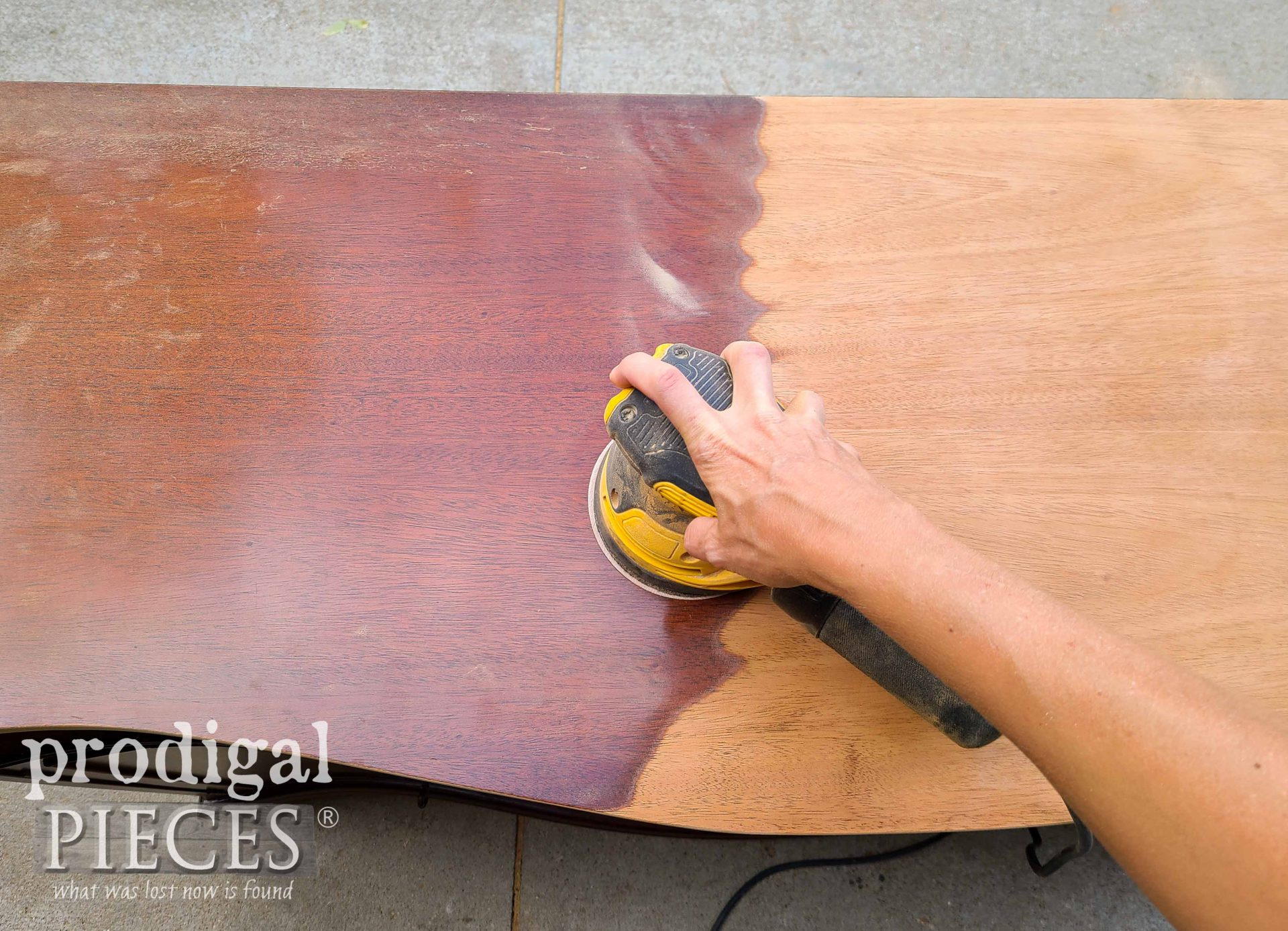 Sanding Buffet Top with Dewalt Orbital Sander by Prodigal Pieces | prodigalpieces.com