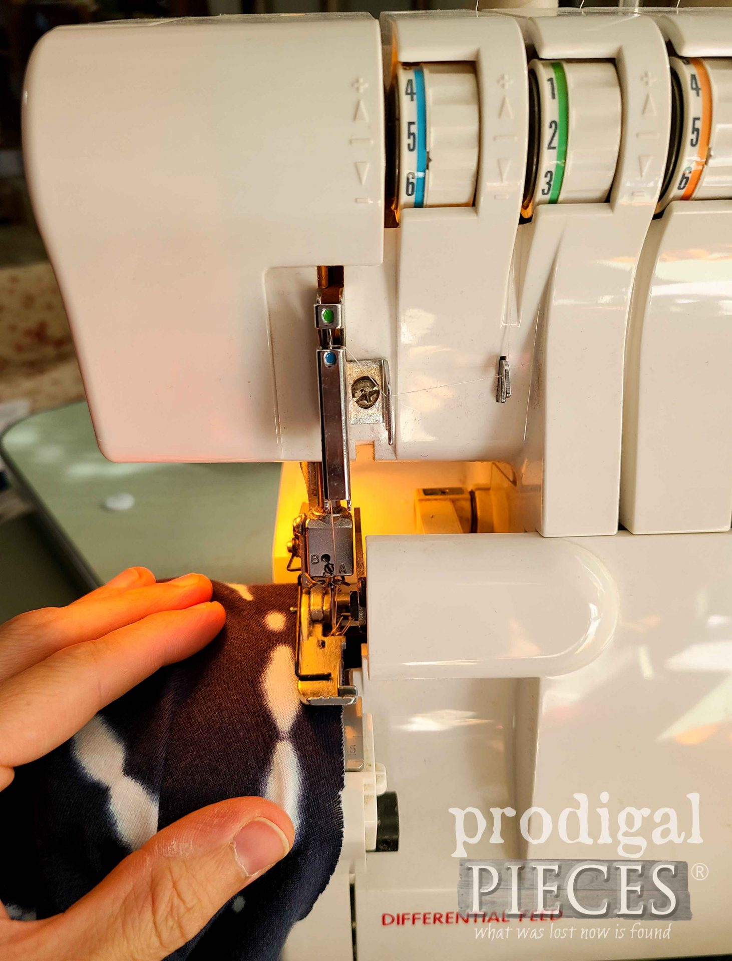 Serging a Rolled Hem on Upcycled Skirt into Nightgown by Prodigal Pieces | prodigalpieces.com