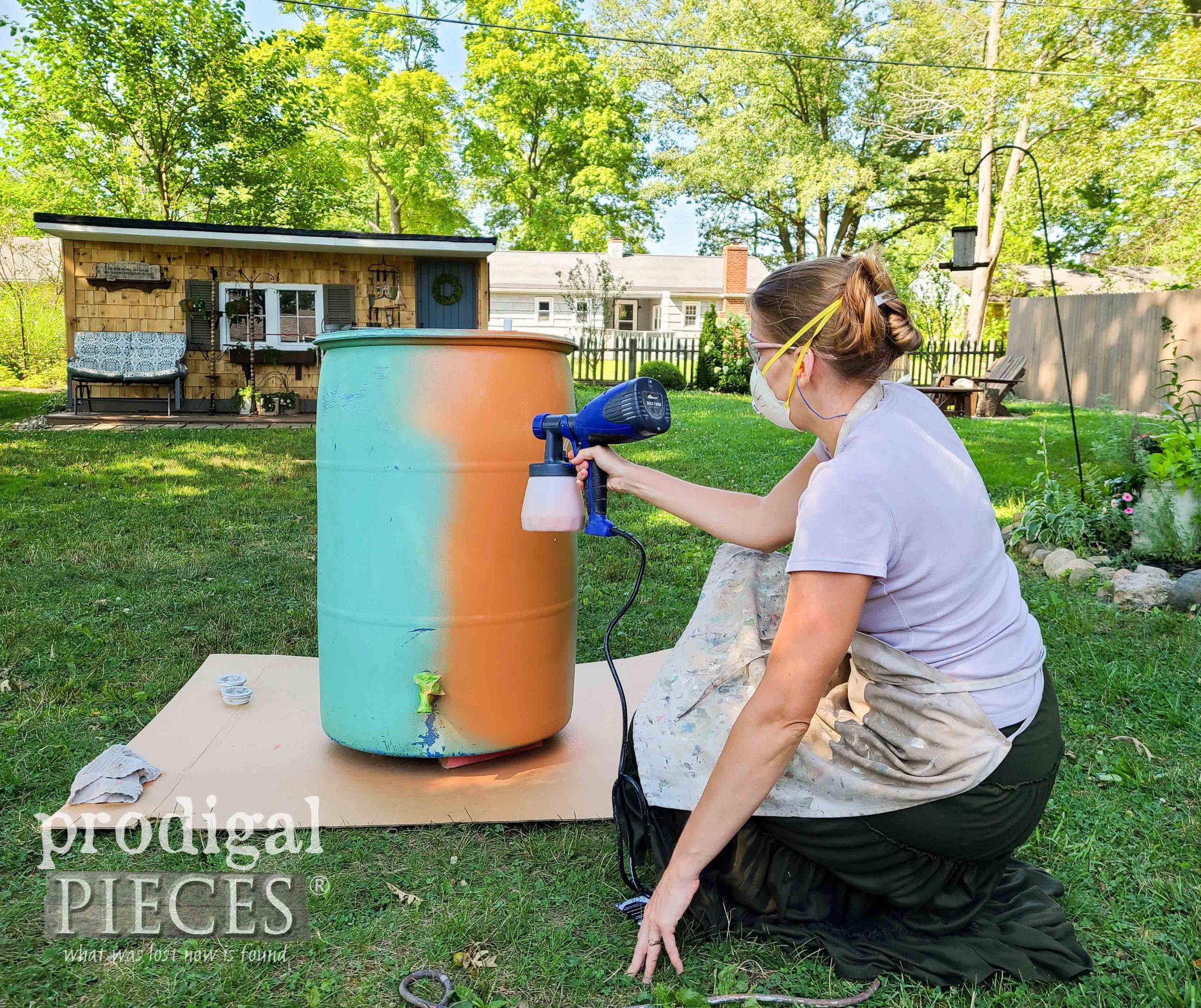 Spray Painting the DIY Rain Barrel with the HomeRight Quick Finish Sprayer | prodigalpieces.com