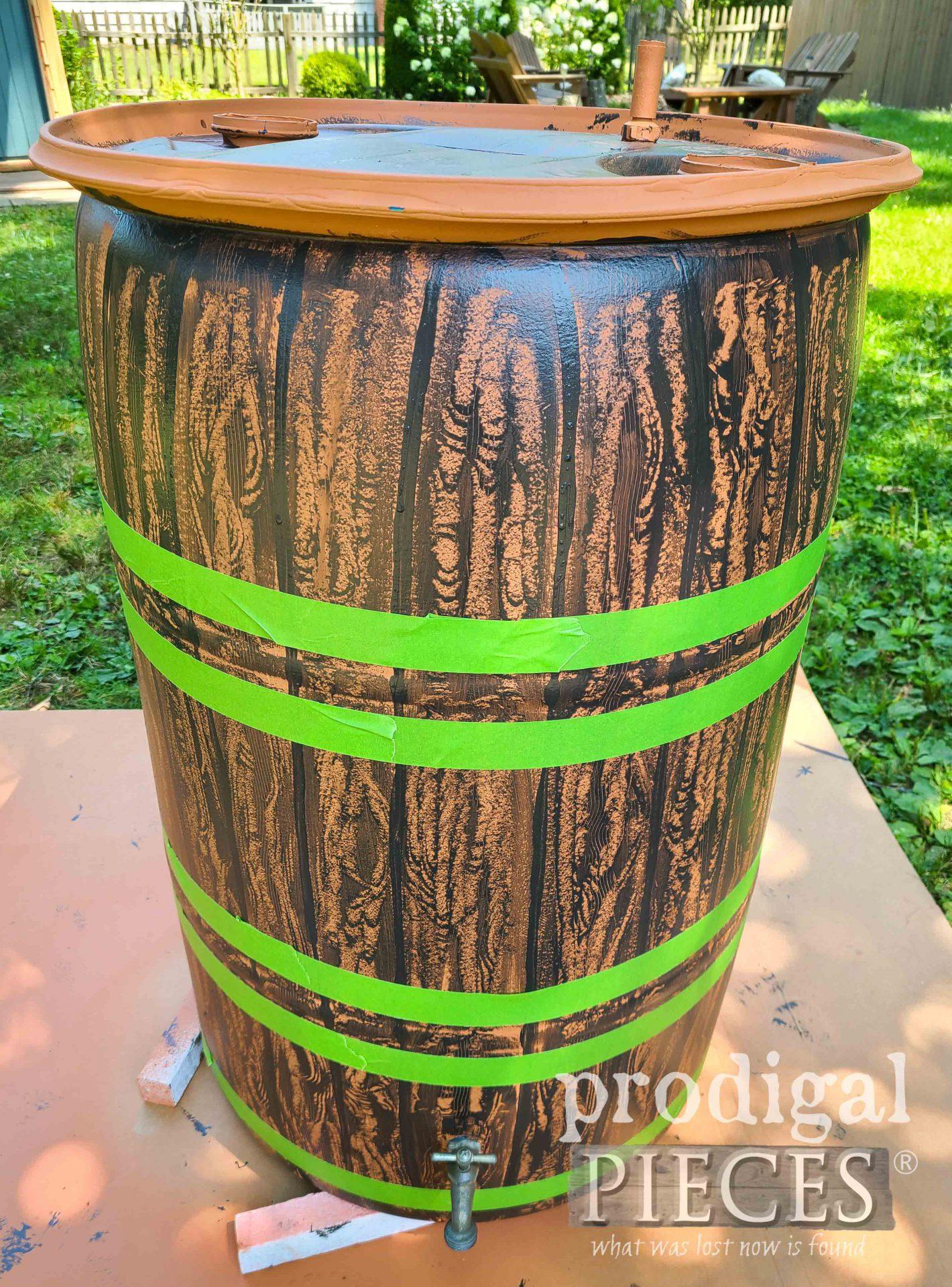 Taped Rings on DIY Rain Barrel | prodigalpieces.com