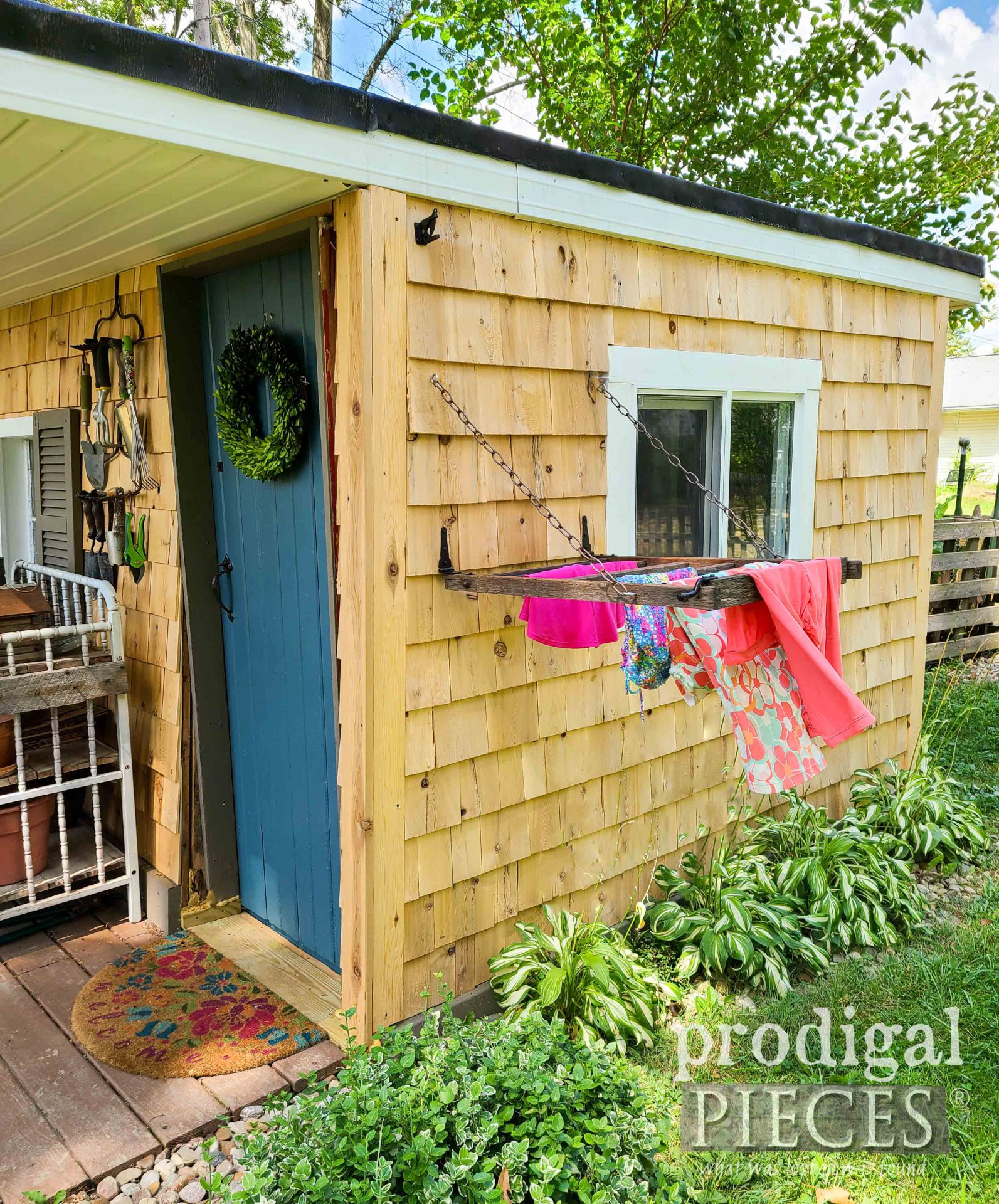 Towel Drying Rack on Shed by Prodigal Pieces | prodigalpieces.com #prodigalpieces #garden #diy