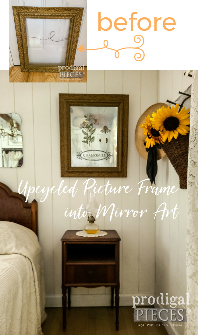 Grab that old picture frame and create upcycled mirror art. Video tutorial by Larissa of Prodigal Pieces | prodigalpieces.com #prodigalpieces #diy #home #homedecor #farmhouse