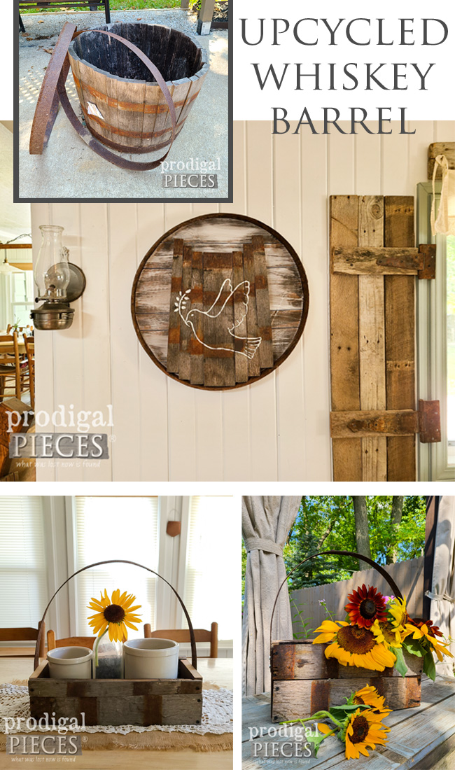 An upcycled whiskey barrel planter makes for fun, rustic home decor | See the details by Larissa of Prodigal Pieces | prodigalpieces.com #prodigalpieces #home #farmhouse #rustic #homedecor #diy