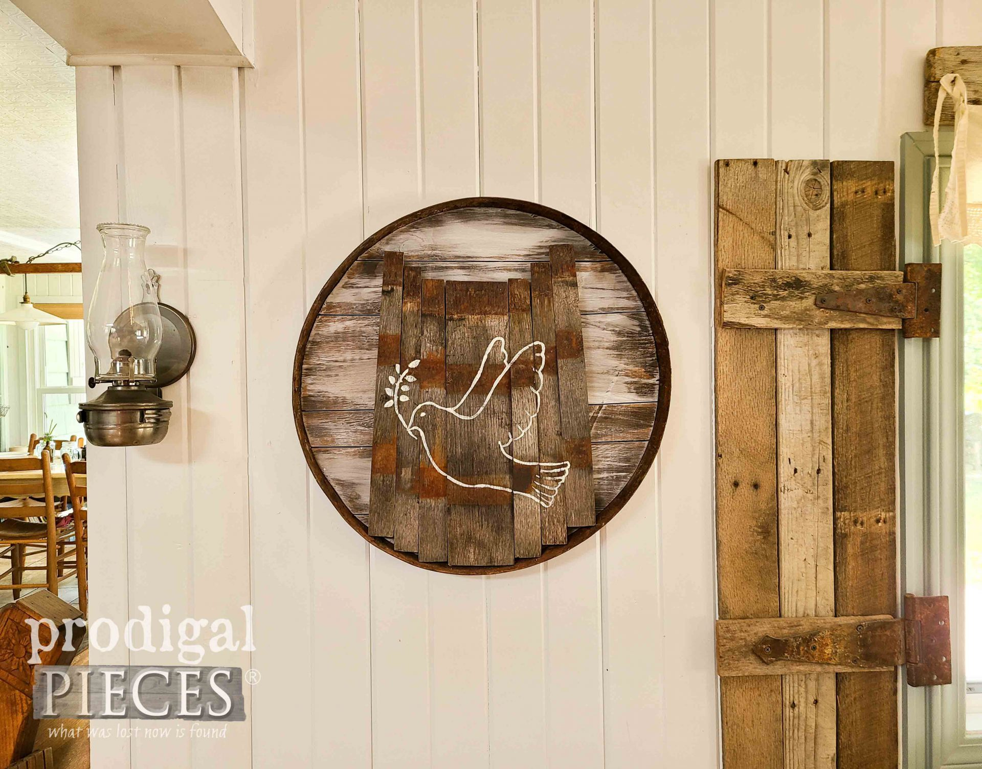 Handmade Upcycled Whiskey Barrel Dove Art by Larissa of Prodigal Pieces | prodigalpieces.com #prodigalpieces #home #farmhouse #homedecor #diy #art