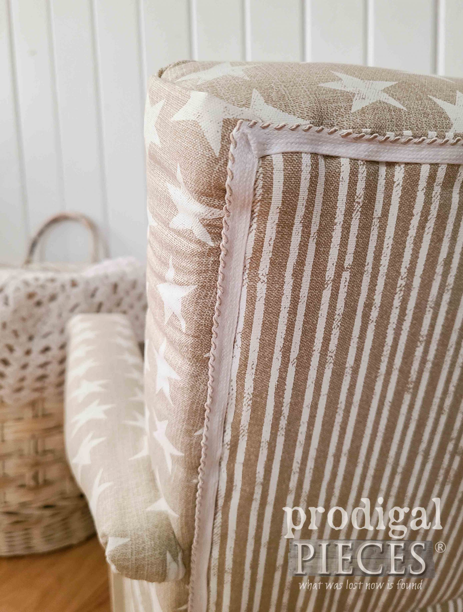 Child's Rocker Upholstery Trim Up Close by Prodigal Pieces | prodigalpieces.com #prodigalpieces #furniture #diy #home #homedecor