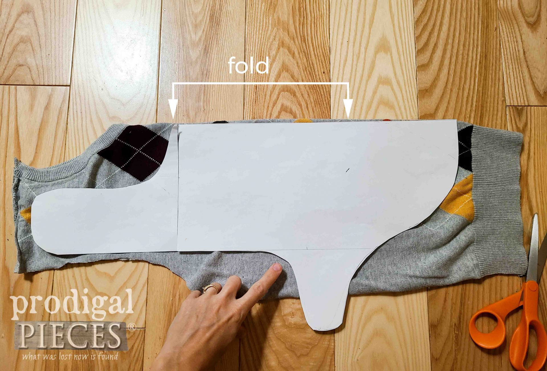 Cutting DIY Dog Coat on Upcycled Sweater by Prodigal Pieces | prodigalpieces.com
