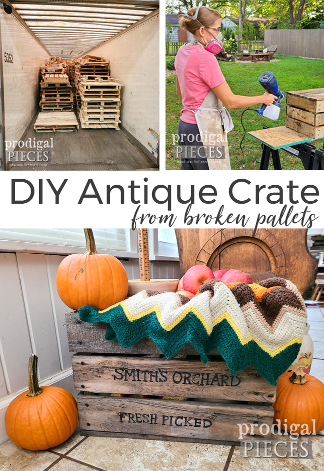 """Grab those busted pallets and build a DIY """"Antique"""" Crate with Rustic Farmhouse Style by Larissa of Prodigal Pieces 